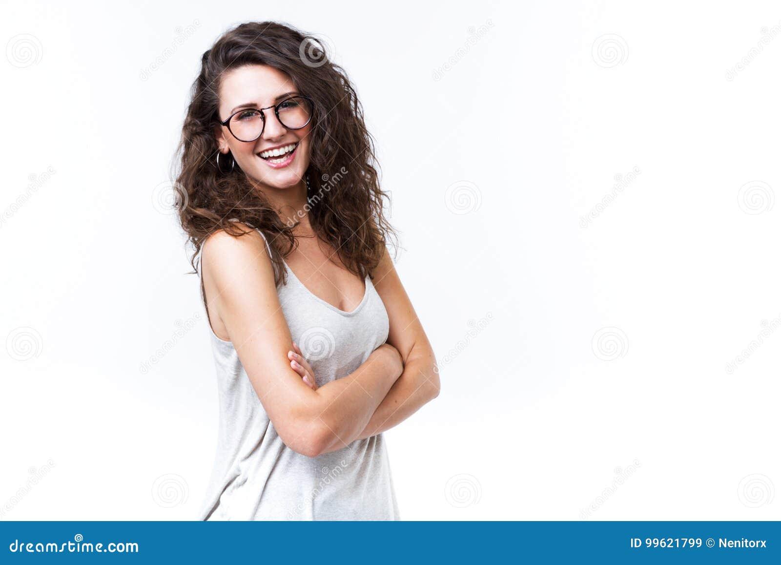 查找妇女年轻人的美丽的照相机 查出在白色