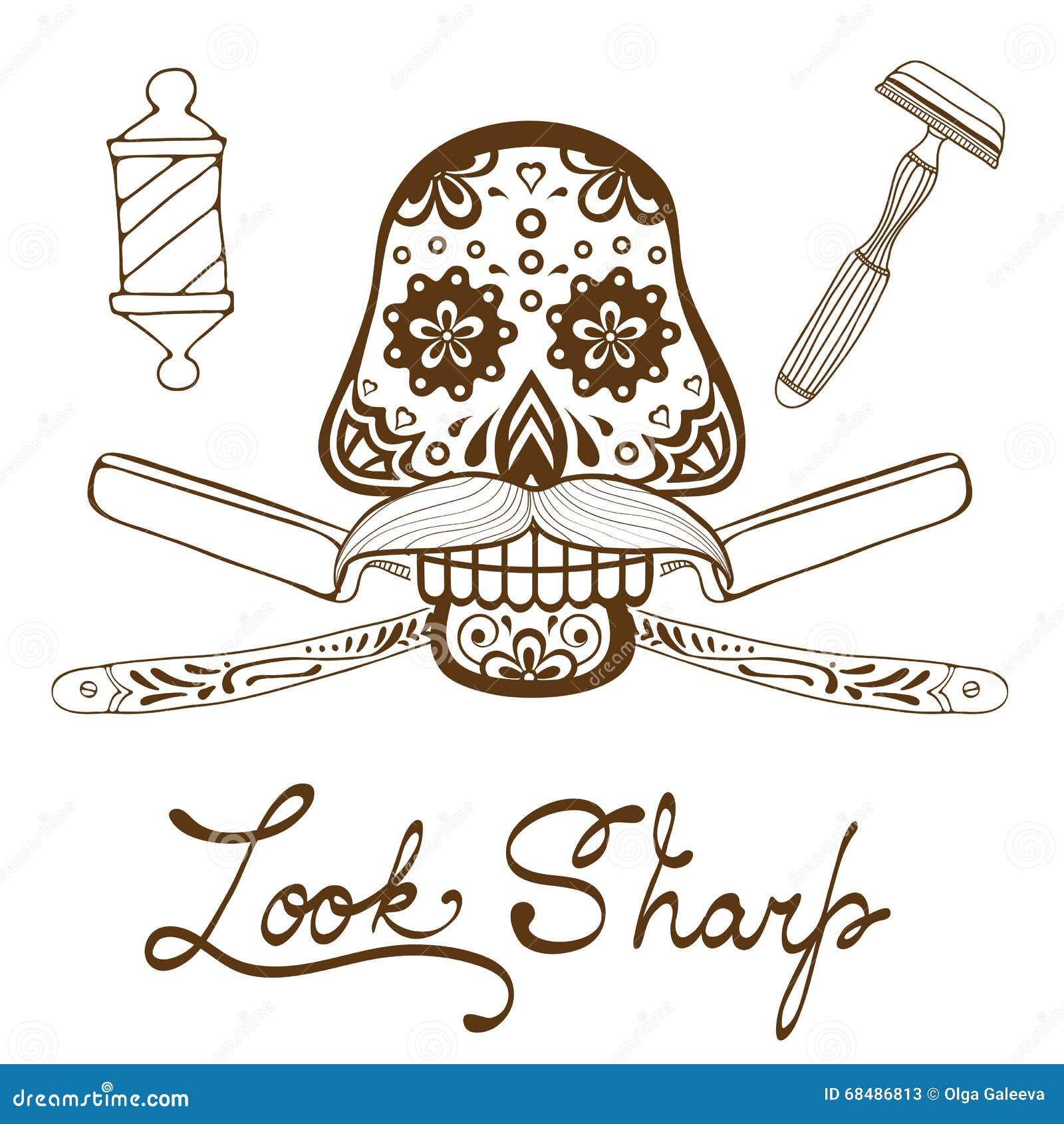 查找锋利 有髭的头骨 减速火箭的理发店象征的样式手拉的图表