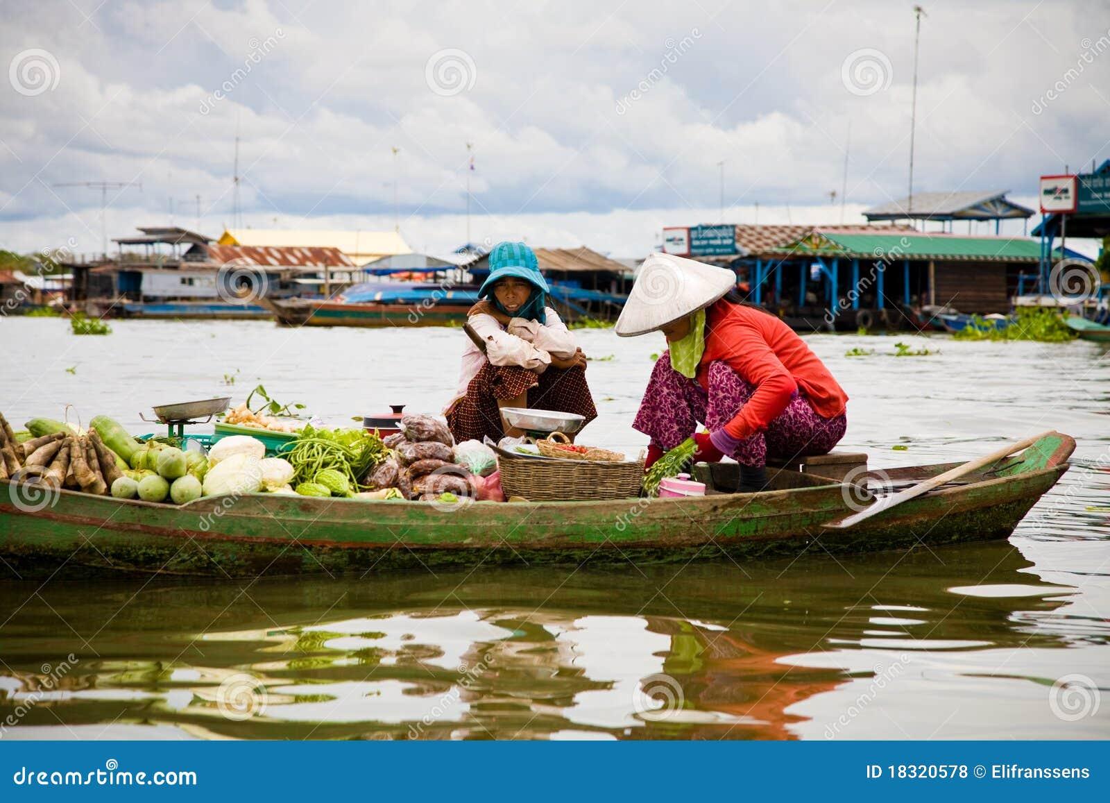 柬埔寨浮动的市场