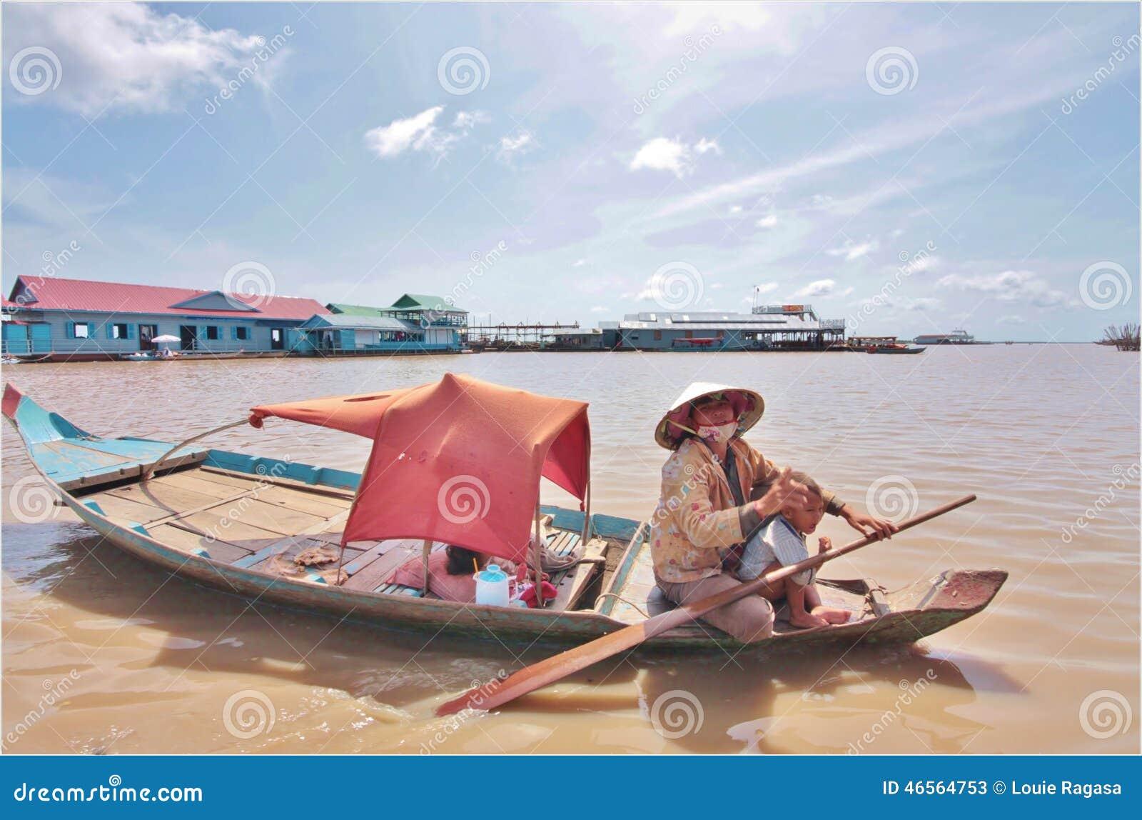 柬埔寨浮动的村庄