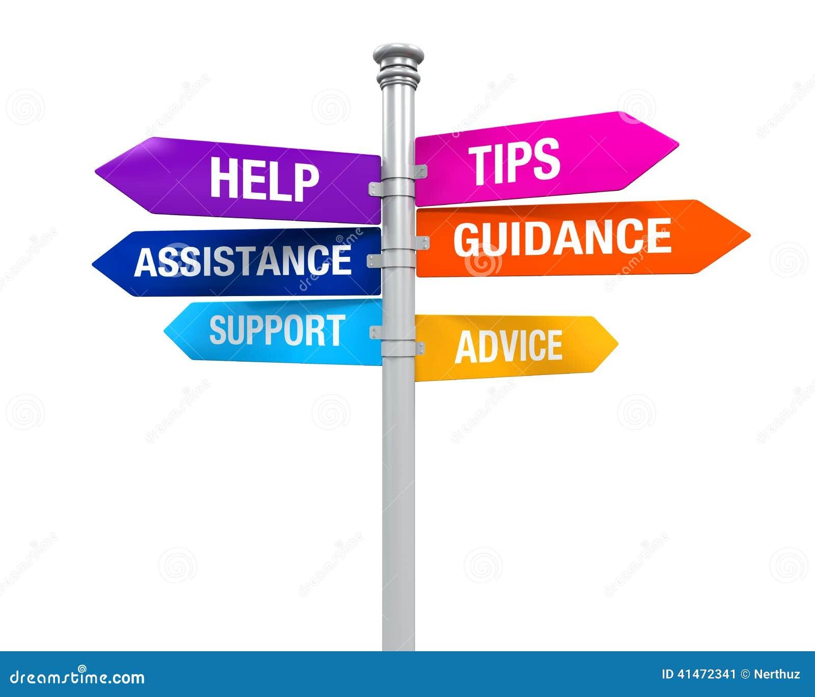 标志方向支持帮助打翻忠告教导协助