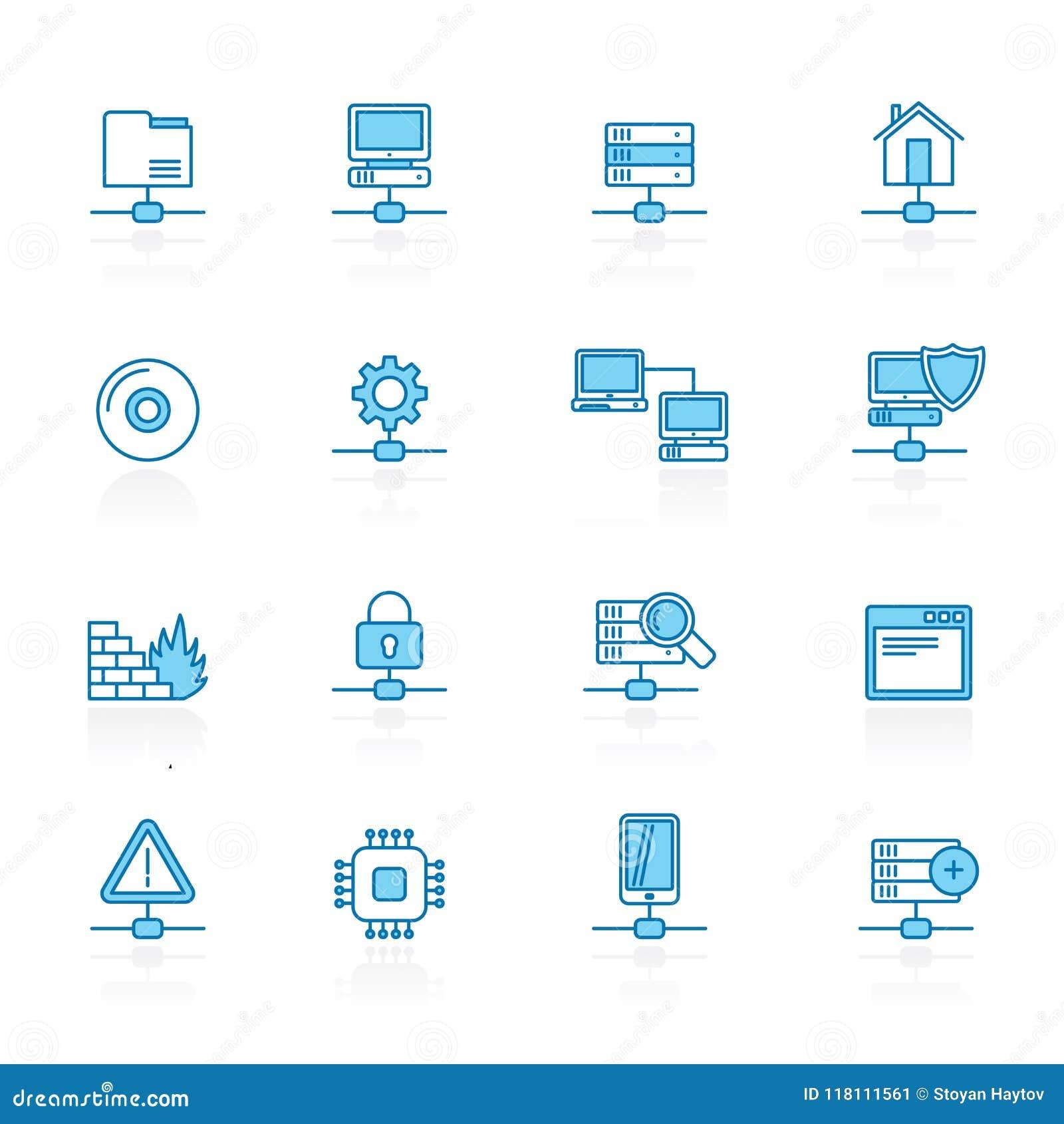 标示用蓝色背景网络,服务器和主持象