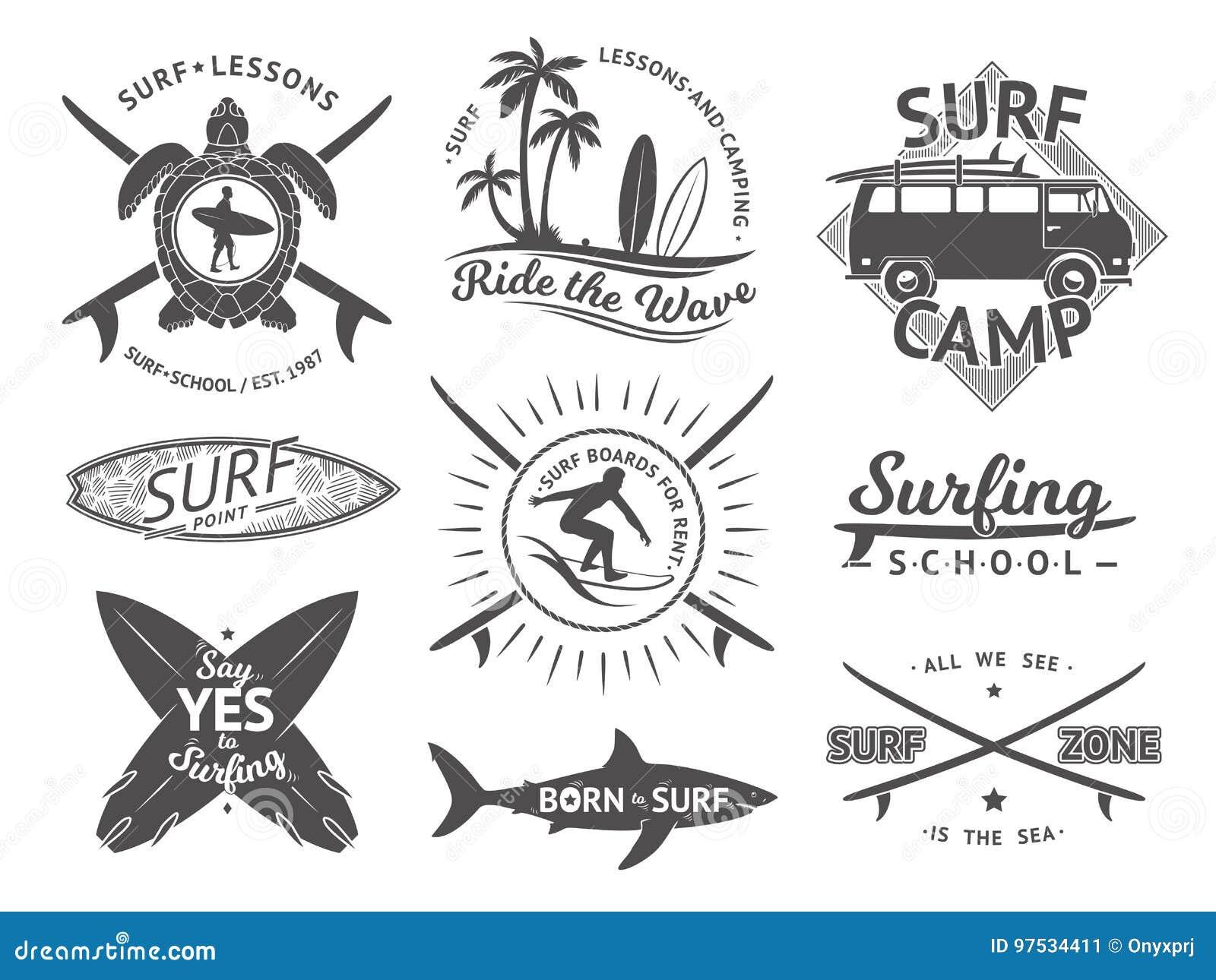 标签或徽章的传染媒介元素 冲浪,夏威夷冲浪板和海 单色例证集合