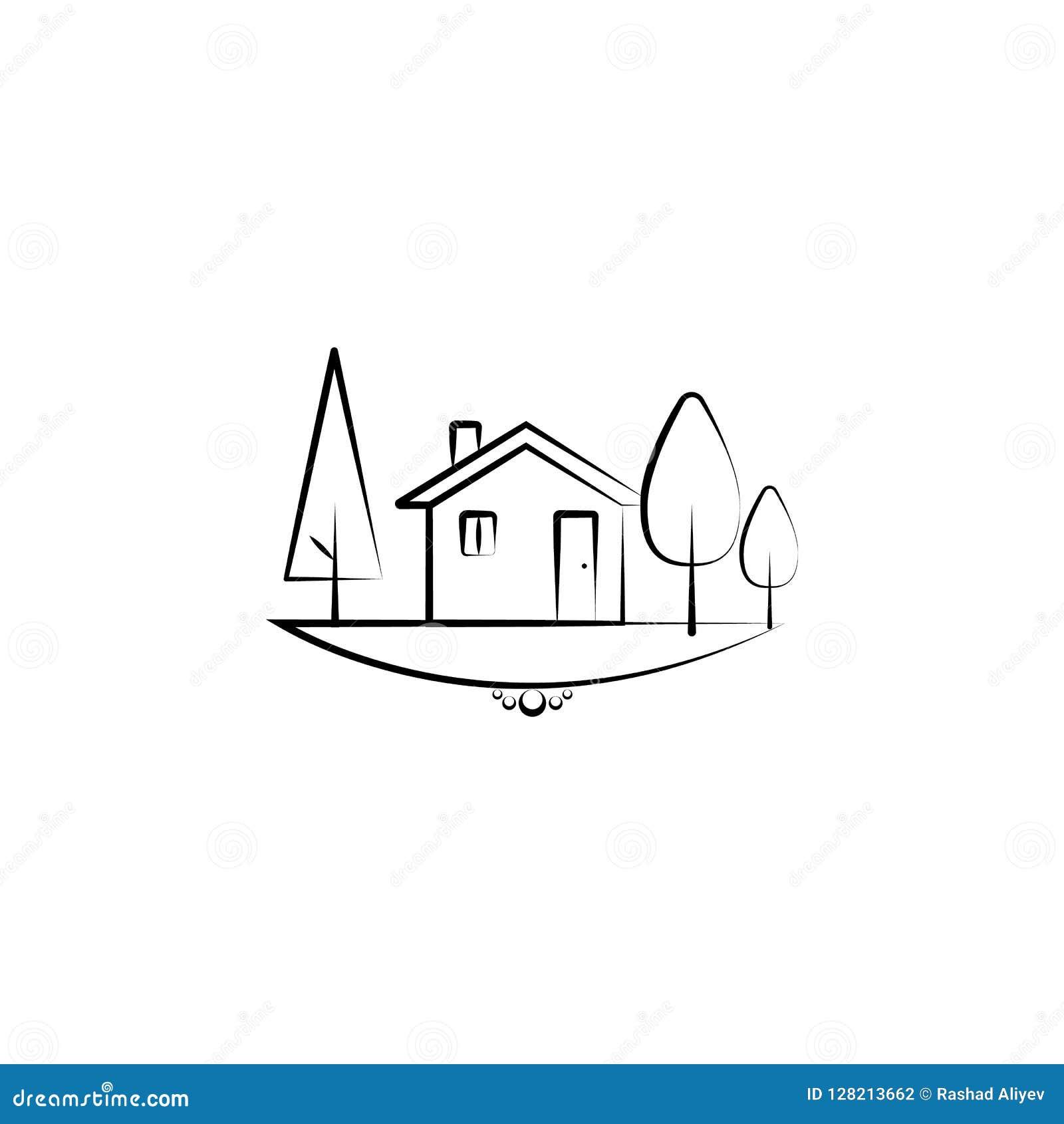 树和家庭象 风景象的元素流动概念和网apps的 手拉的树和家庭象可以为网a使用