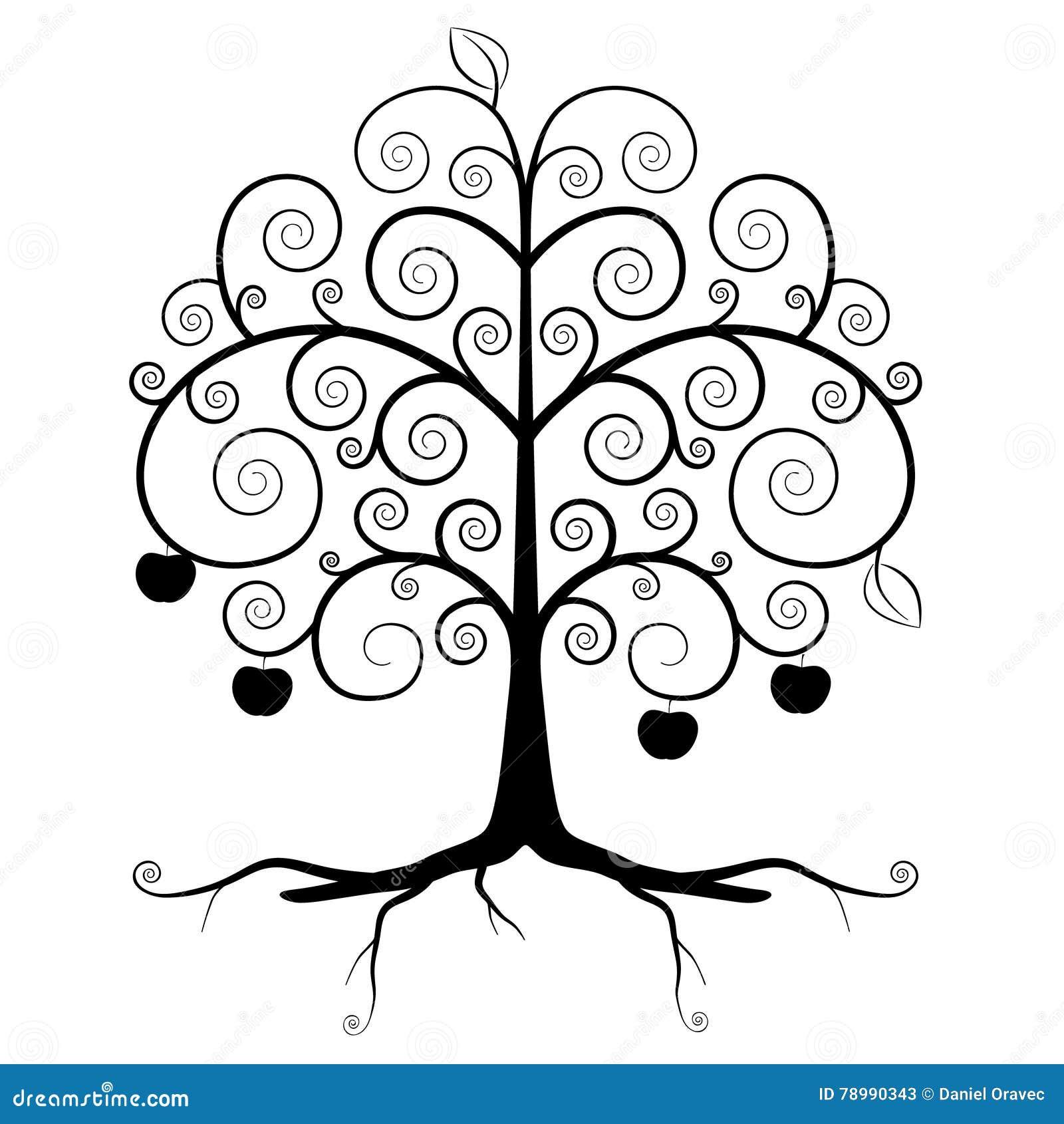 树标志-抽象传染媒介树剪影