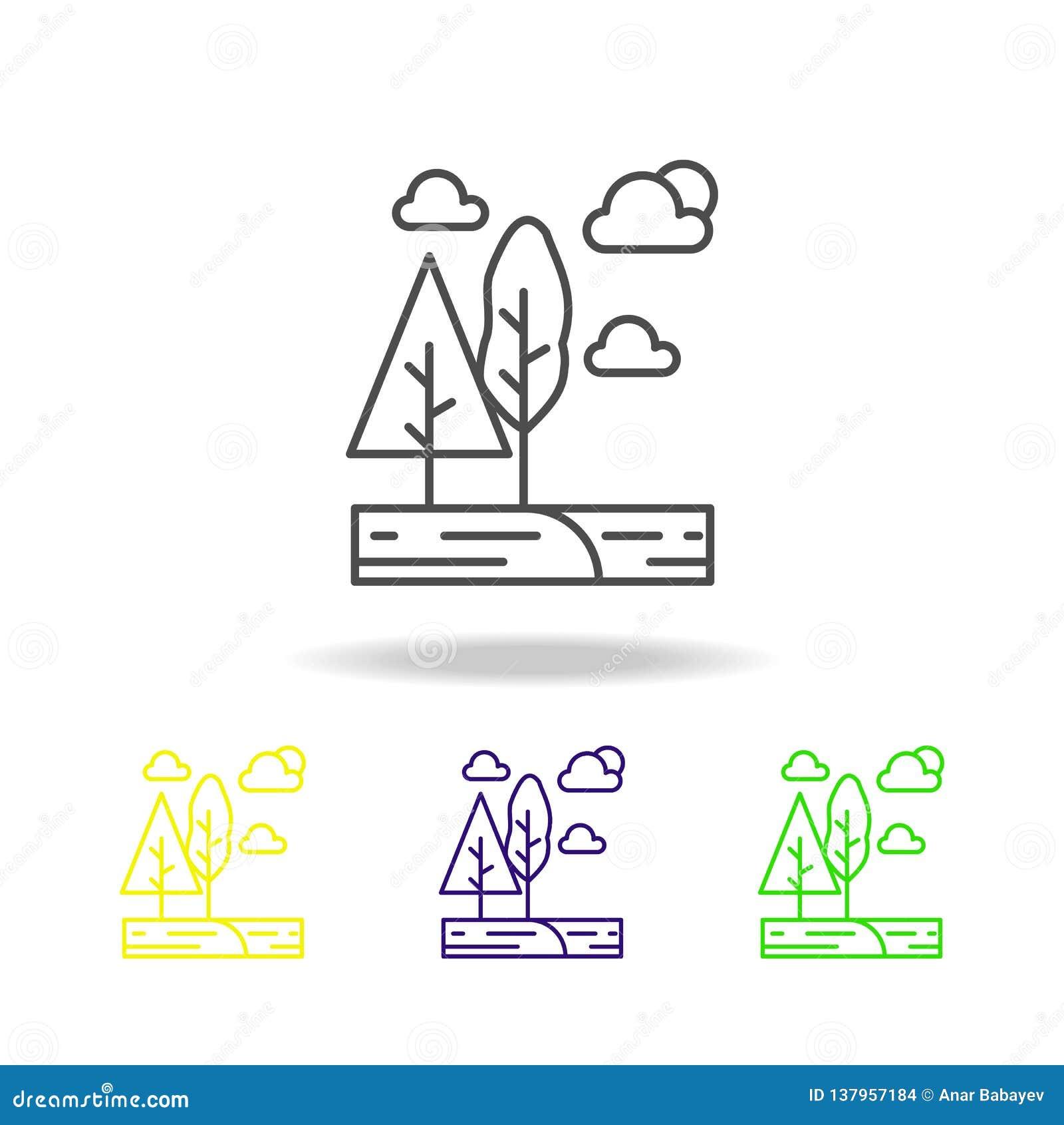 树,云彩,太阳上色了象 能为网,商标,流动应用程序,UI,UX使用