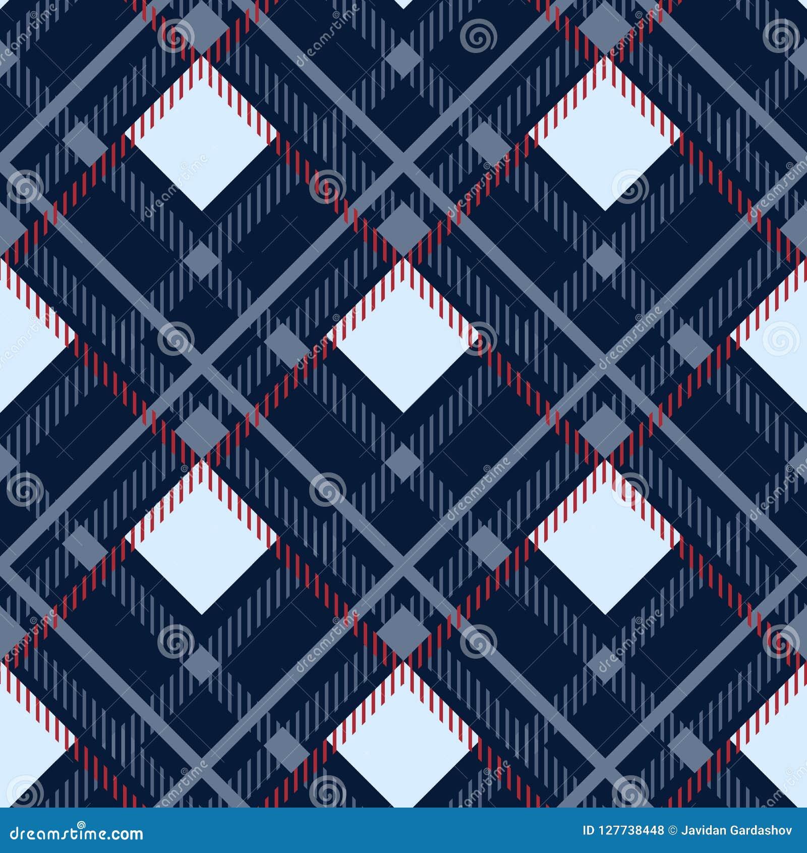 格子呢无缝的样式背景 红色,黑,蓝色,米黄和白色格子花呢披肩,格子呢法绒衬衣样式 时髦瓦片传染媒介Il