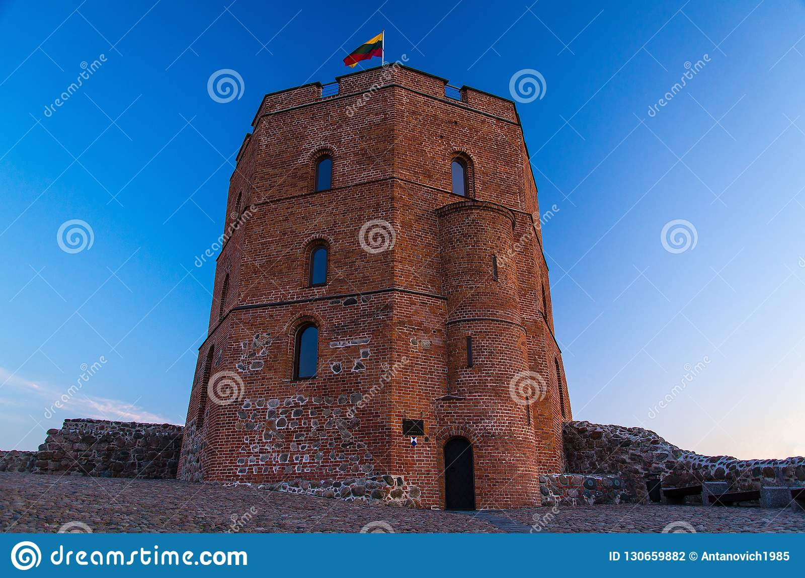 格季米纳斯Gedimino,维尔纽斯,Lithua中世纪老城堡塔