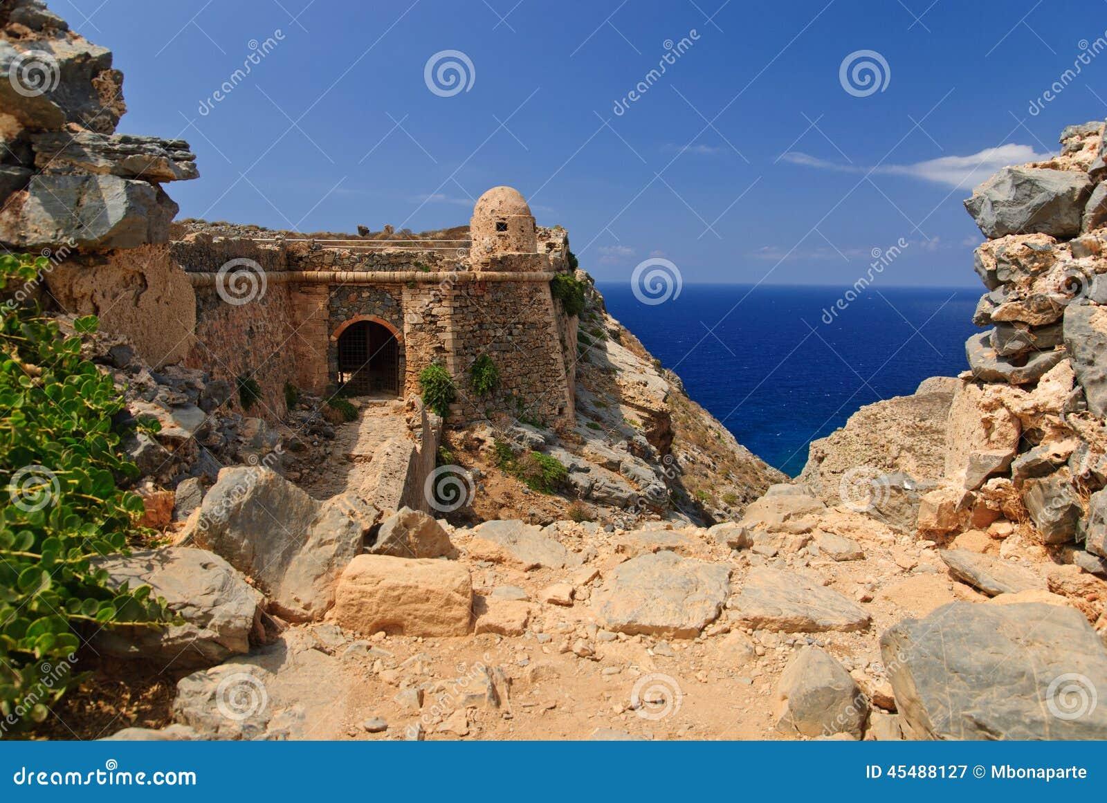 格拉姆武萨群岛海岛的,克利特,希腊威尼斯式堡垒
