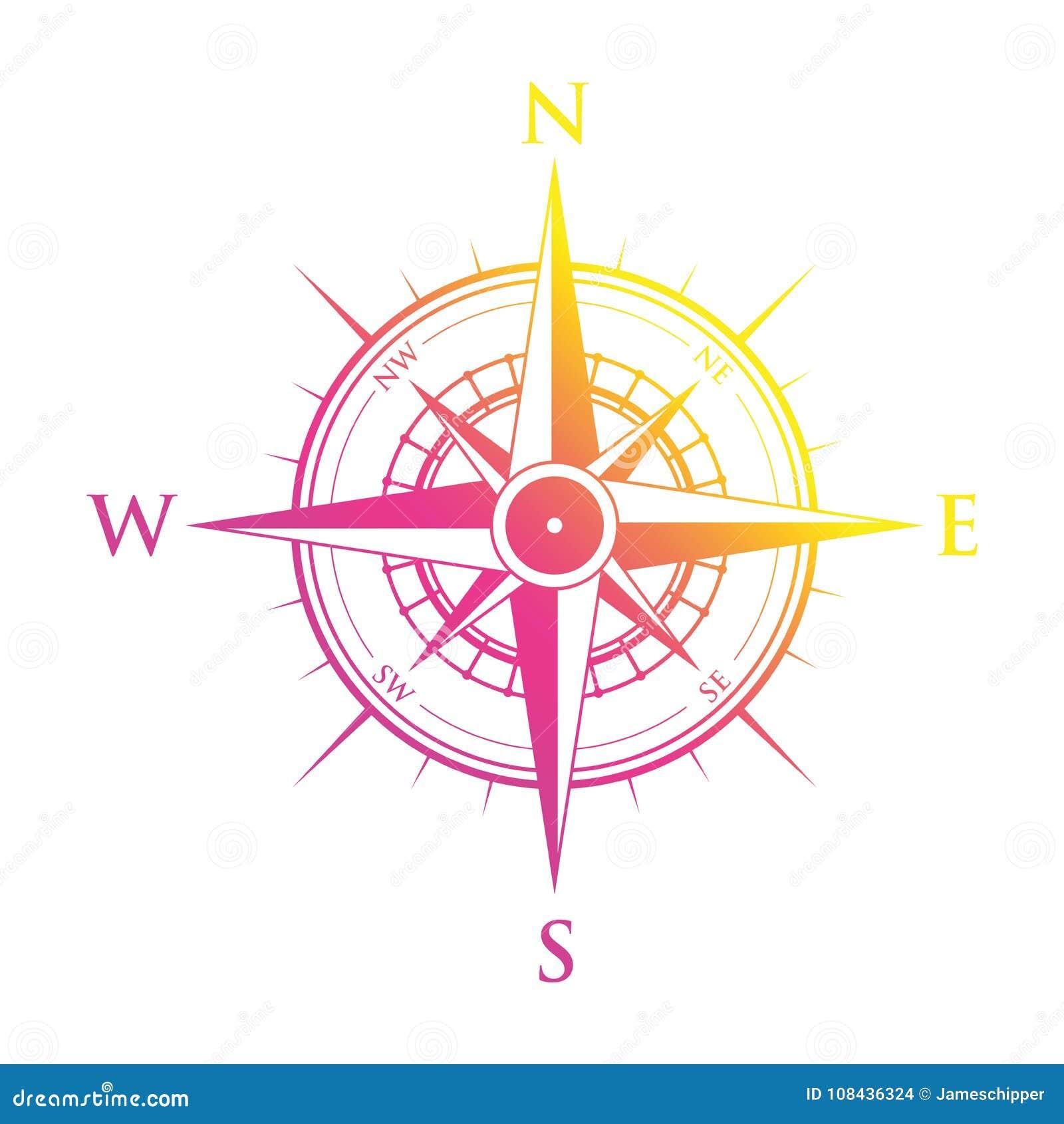 桃红色和黄色指南针