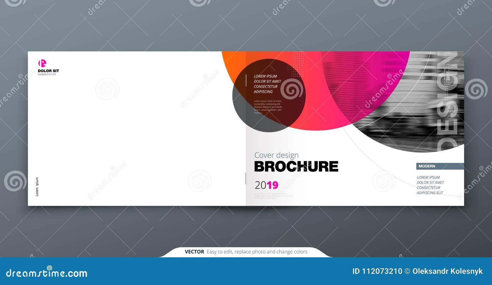 桃红色小册子设计 小册子的水平的盖子模板,报告,编目,杂志 与梯度圈子的布局