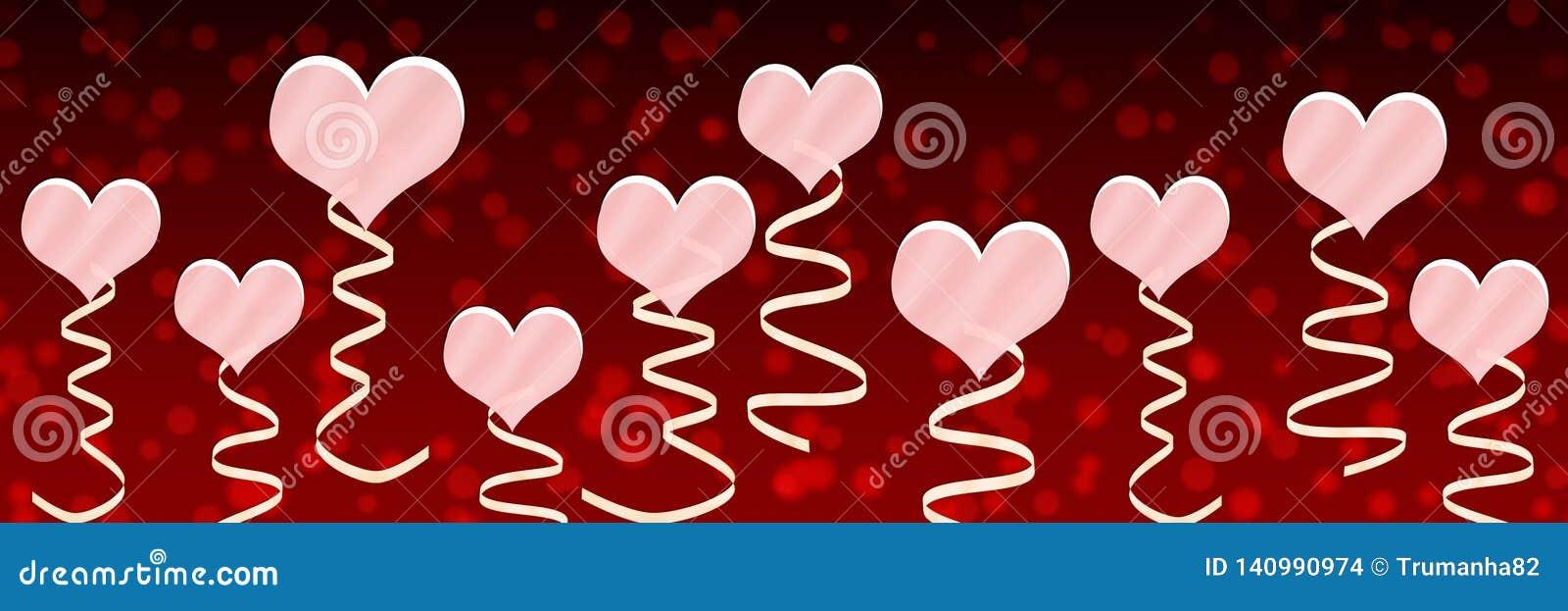 桃红色心脏和丝带在红色背景中