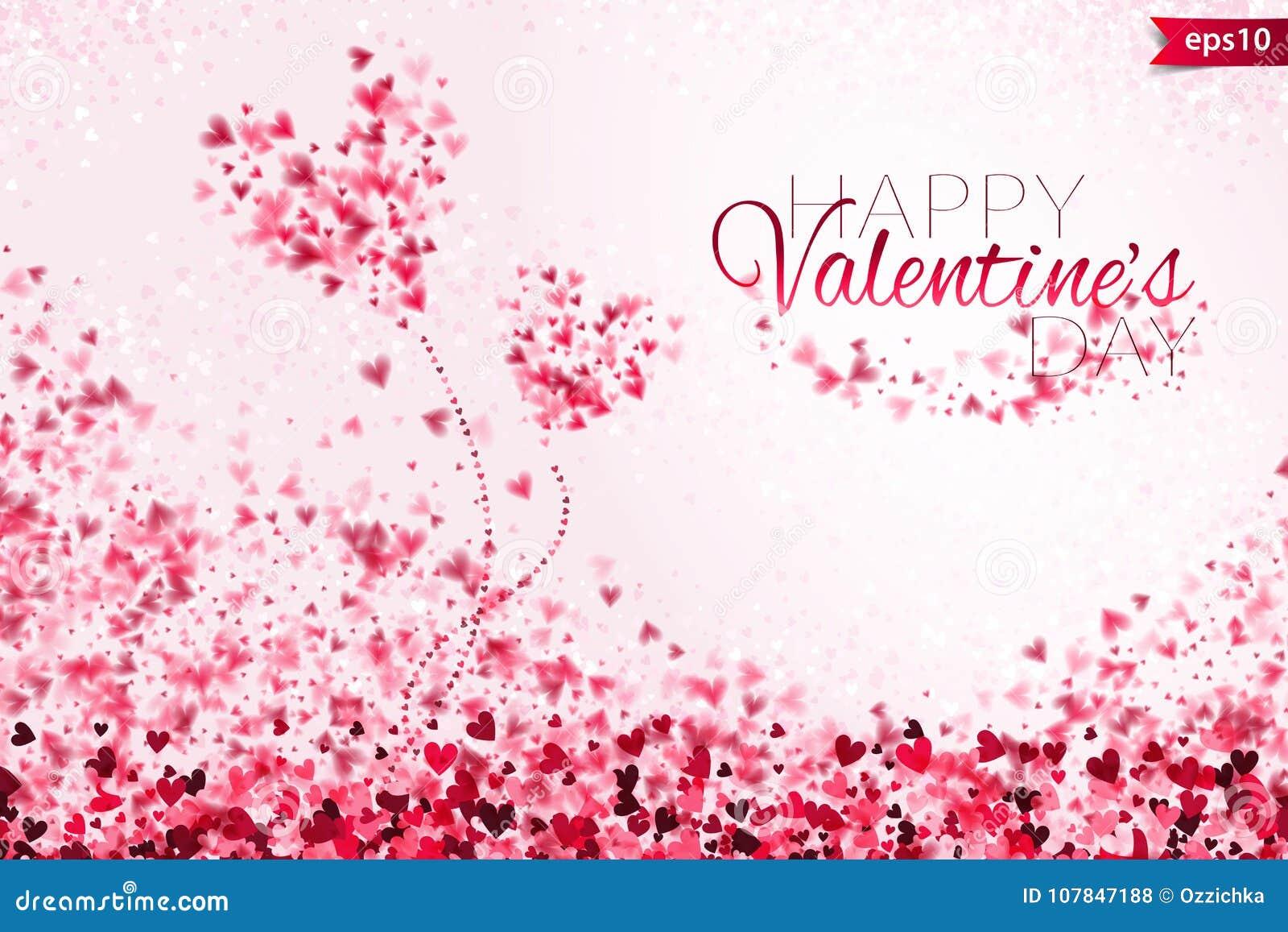 桃红色心脏bokeh光华伦泰` s天背景eps 10 与五颜六色的心脏的嫩背景 浪漫五颜六色