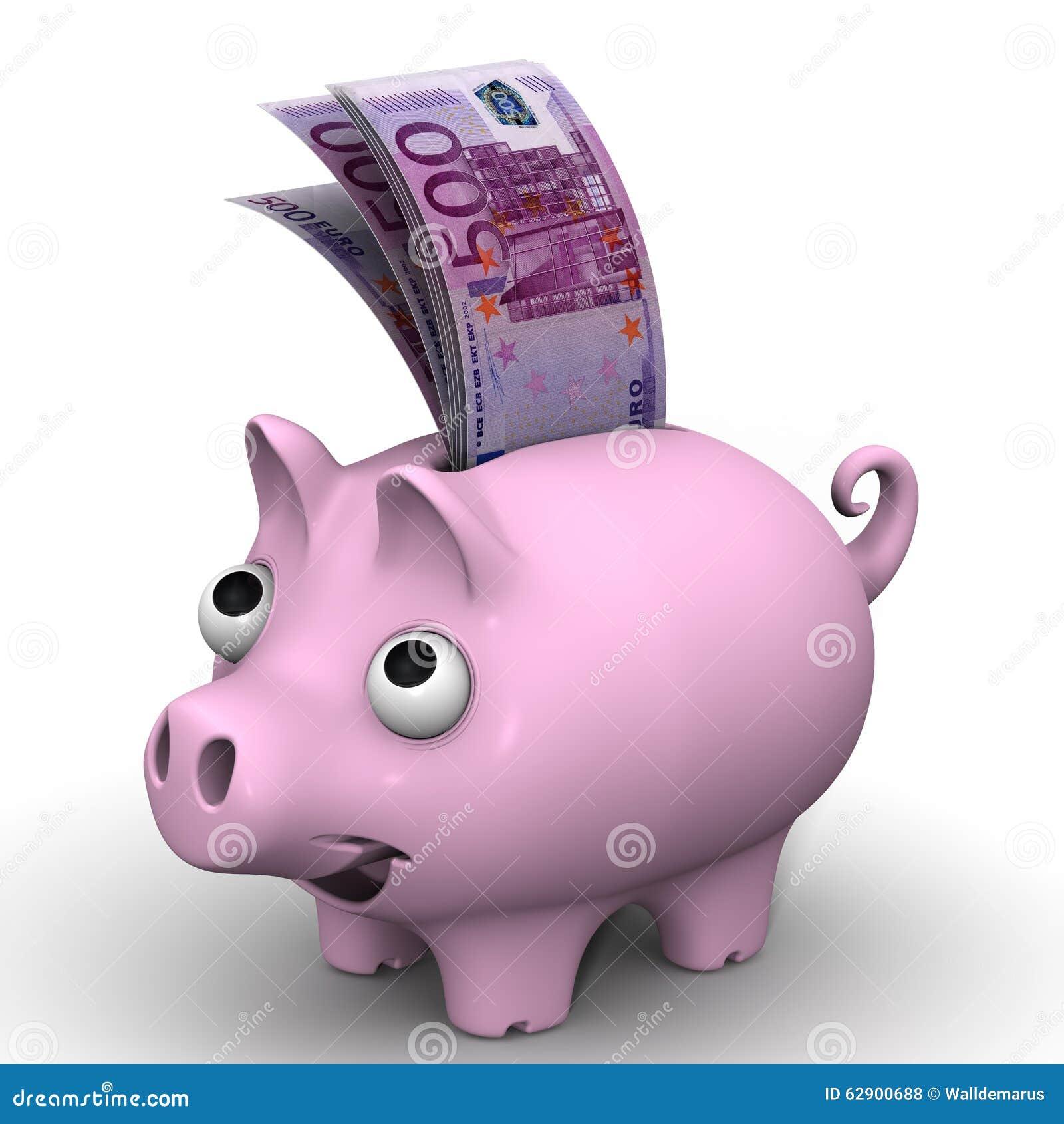 桃红色有欧洲货币的钞票的猪存钱罐