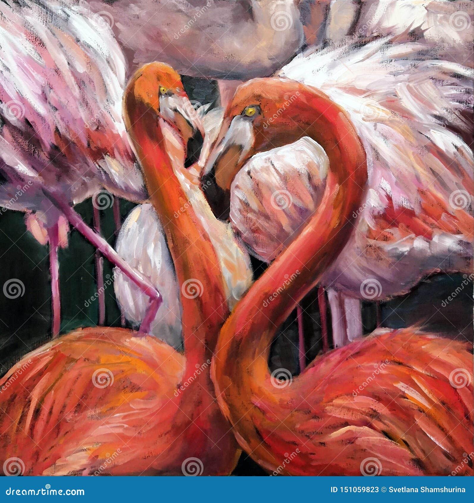 桃红色火鸟油画夫妇在黑暗的背景的 在美丽的热带鸟帆布的原始的印象主义油图片