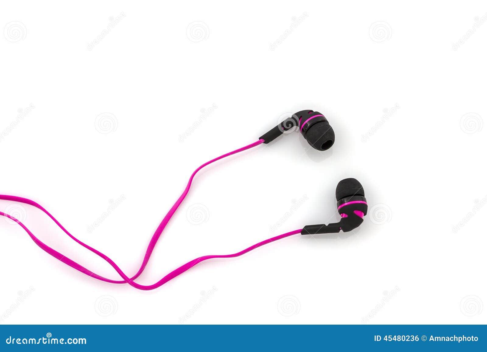 桃红色耳机