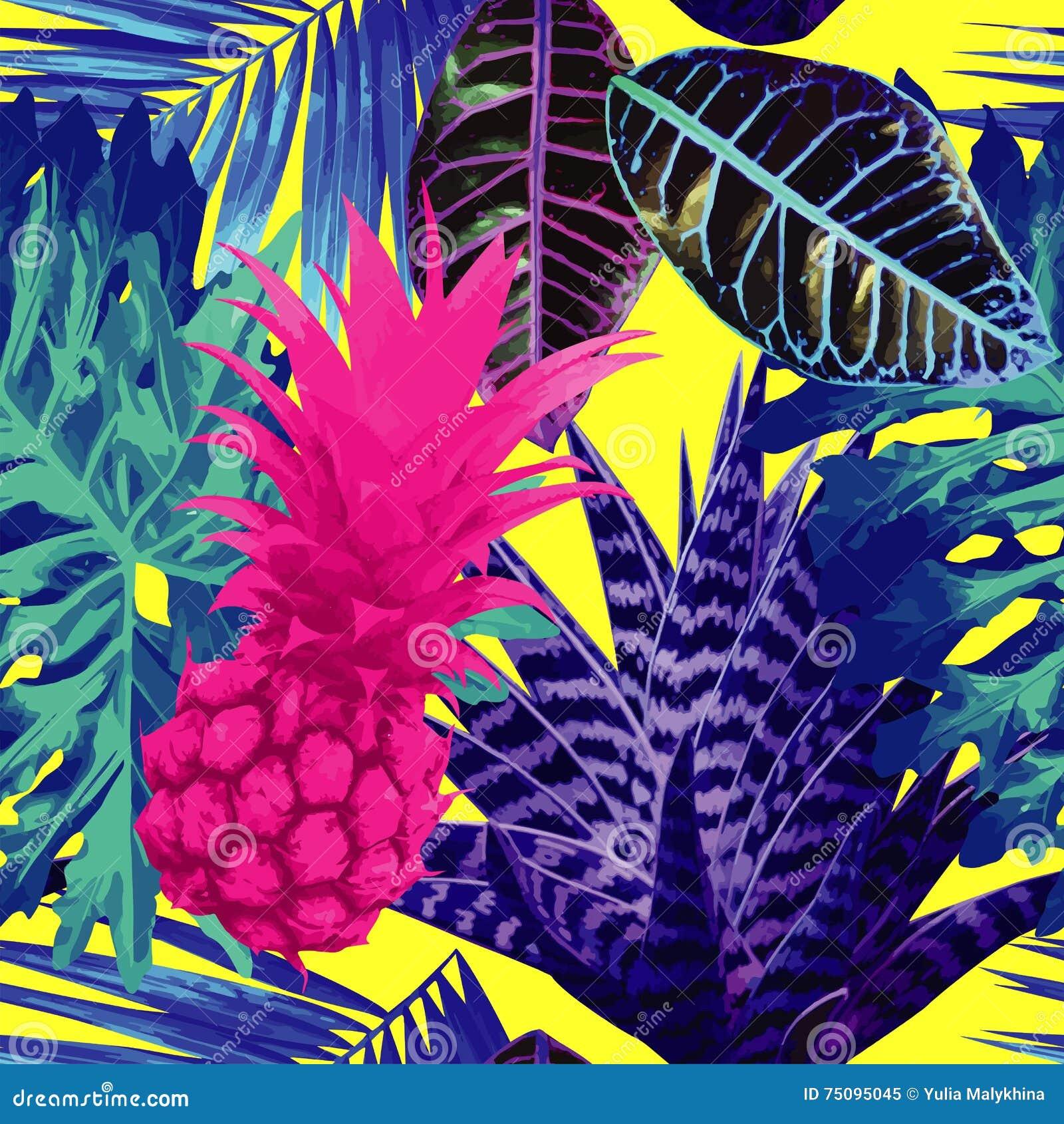 桃红色菠萝和蓝色异乎寻常的植物无缝的背景
