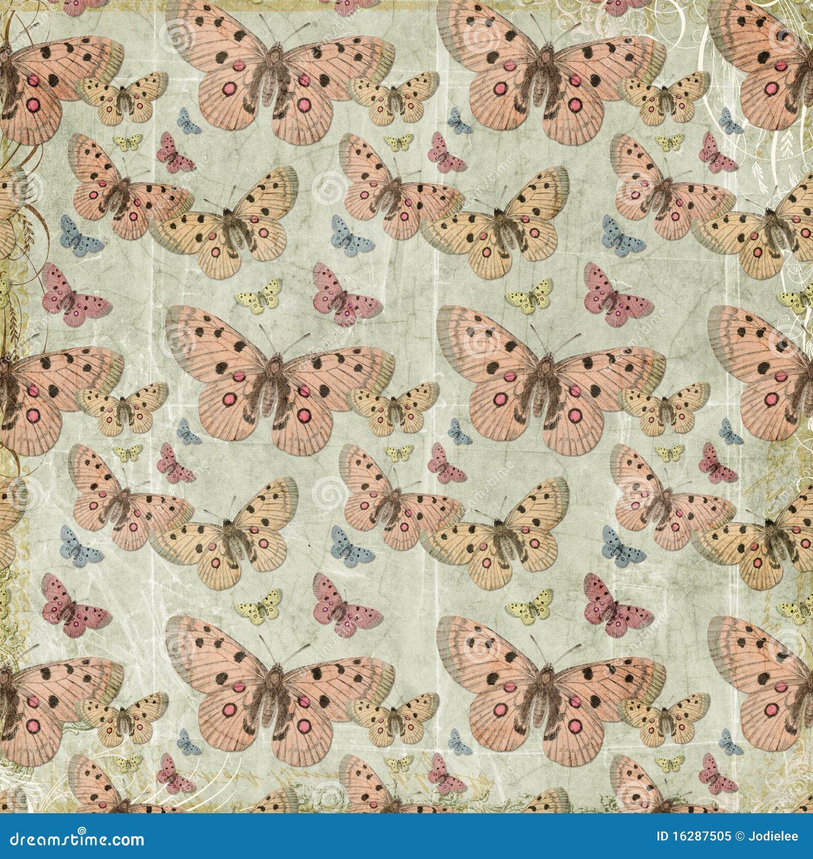 桃红色蝴蝶重复模式背景