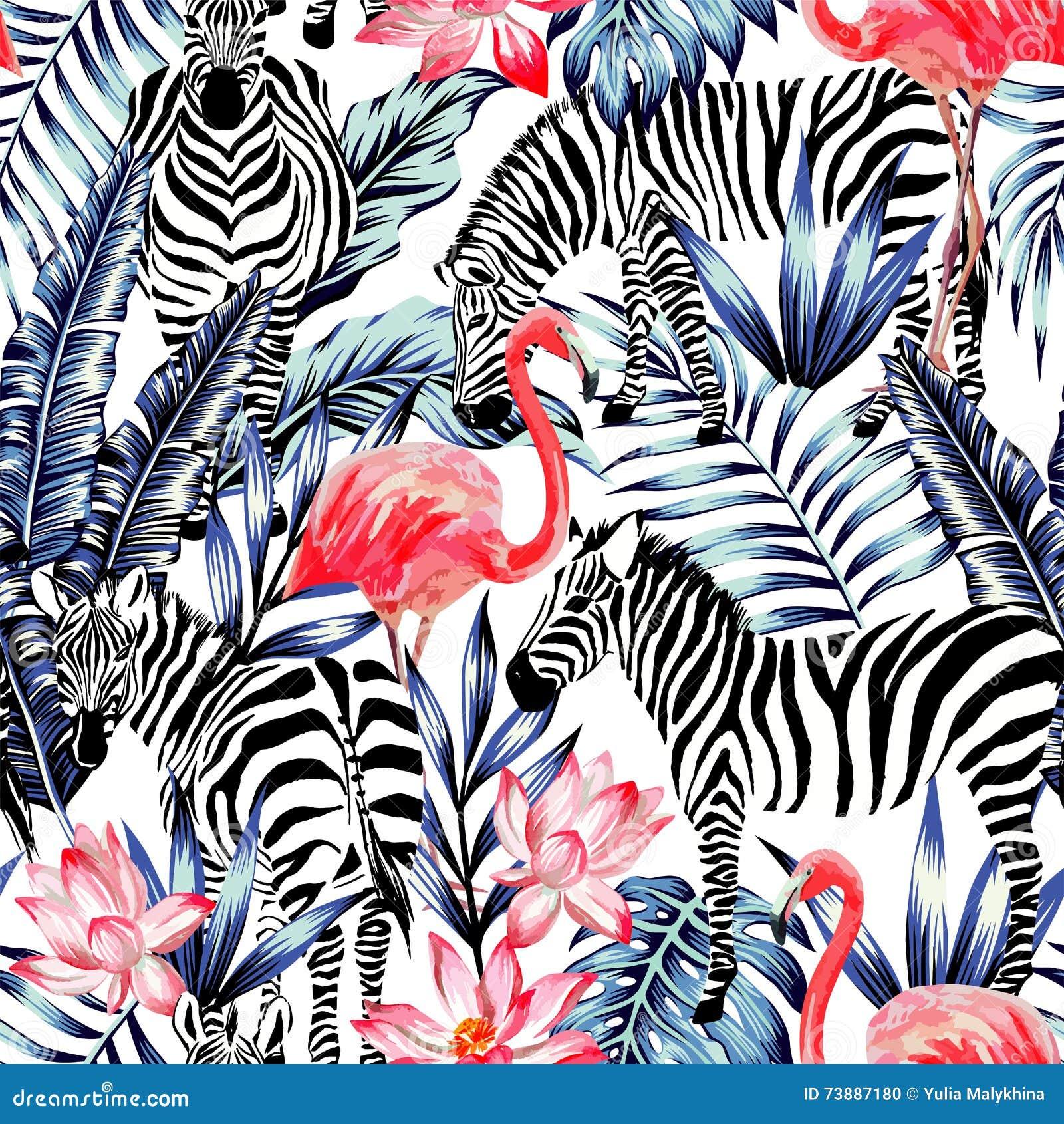 桃红色水彩火鸟、斑马和蓝色棕榈叶热带se
