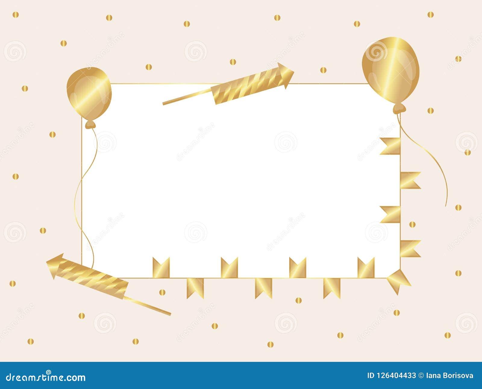 框架 背景是与金黄五彩纸屑、爆竹、气球和旗子的粉红彩笔 向量