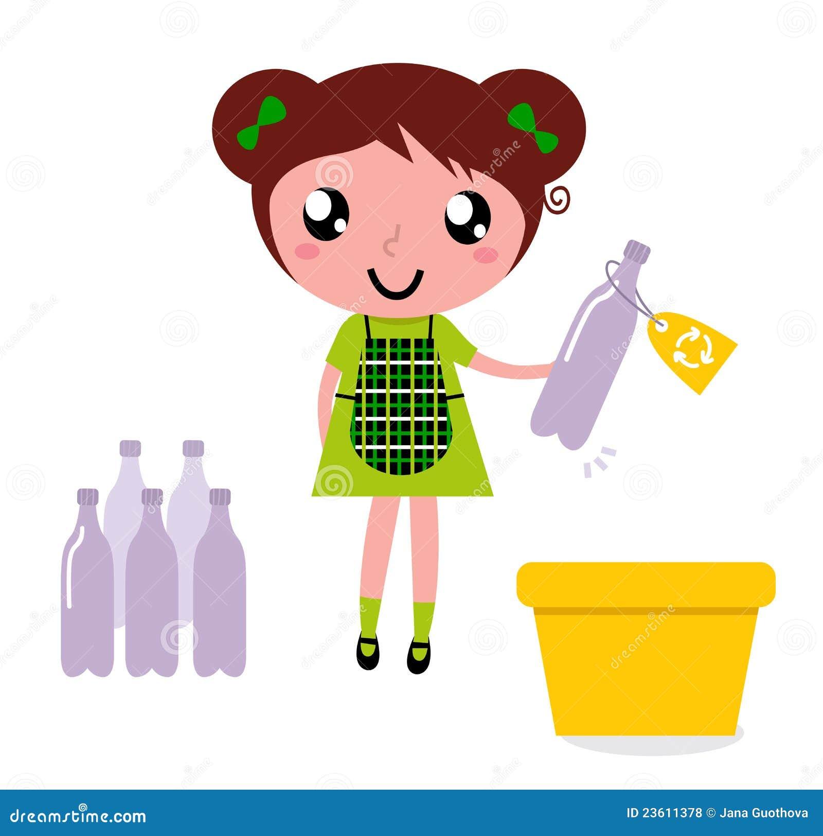 框逗人喜爱的垃圾女孩回收回收