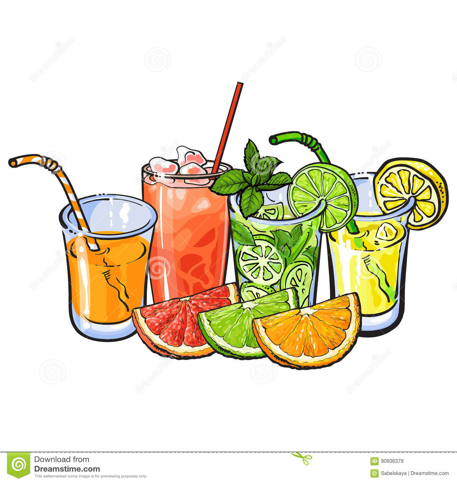 桔子、葡萄柚、石灰、柠檬汁和果子一半