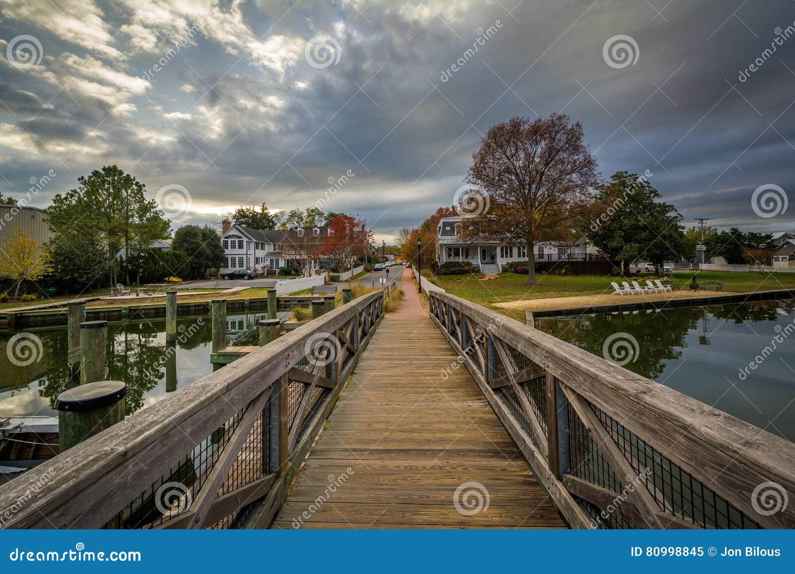 桥梁和房子沿港口,圣的Michaels,马里兰