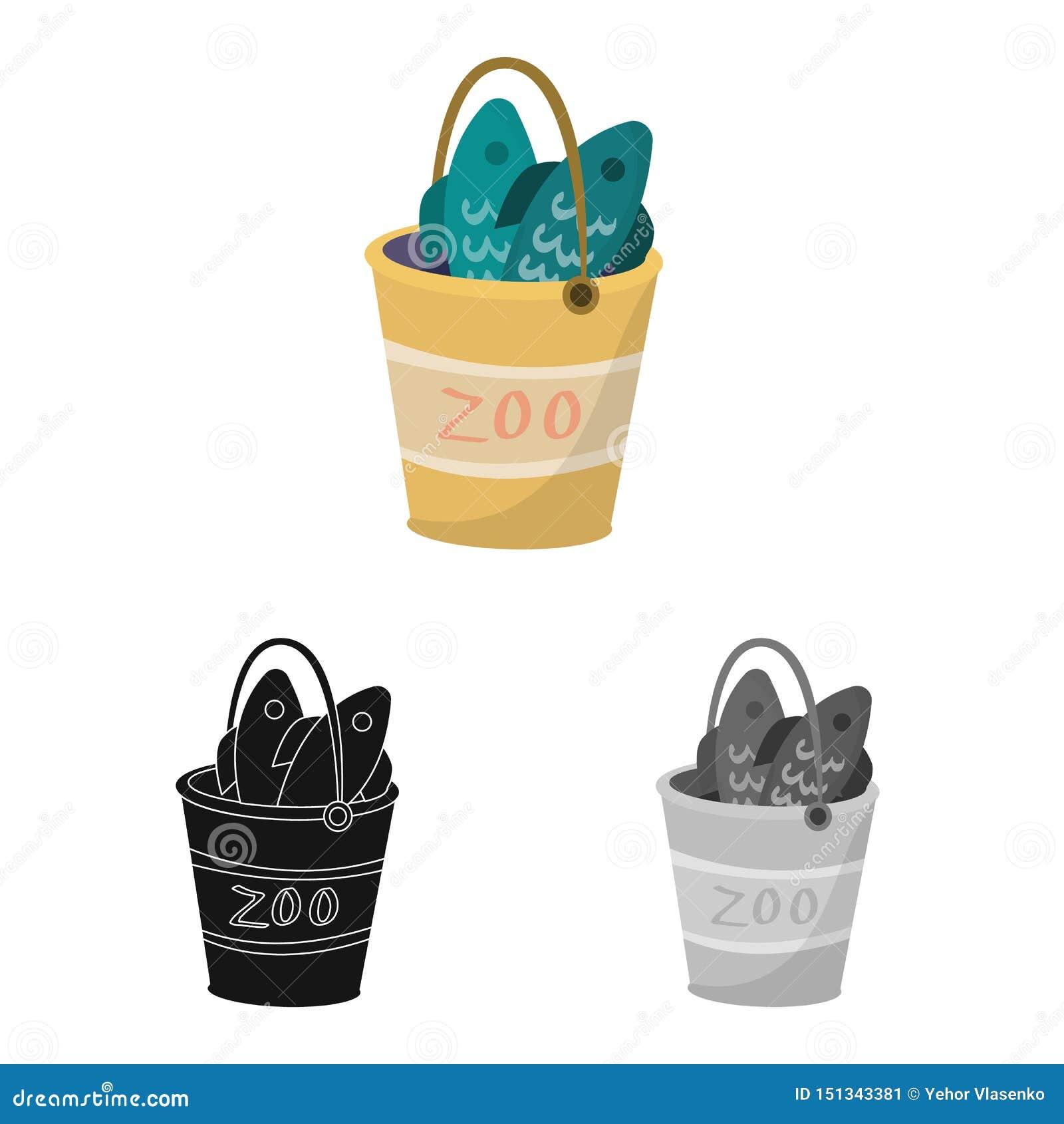 桶和鱼商标传染媒介设计  设置桶和钓鱼股票的传染媒介象