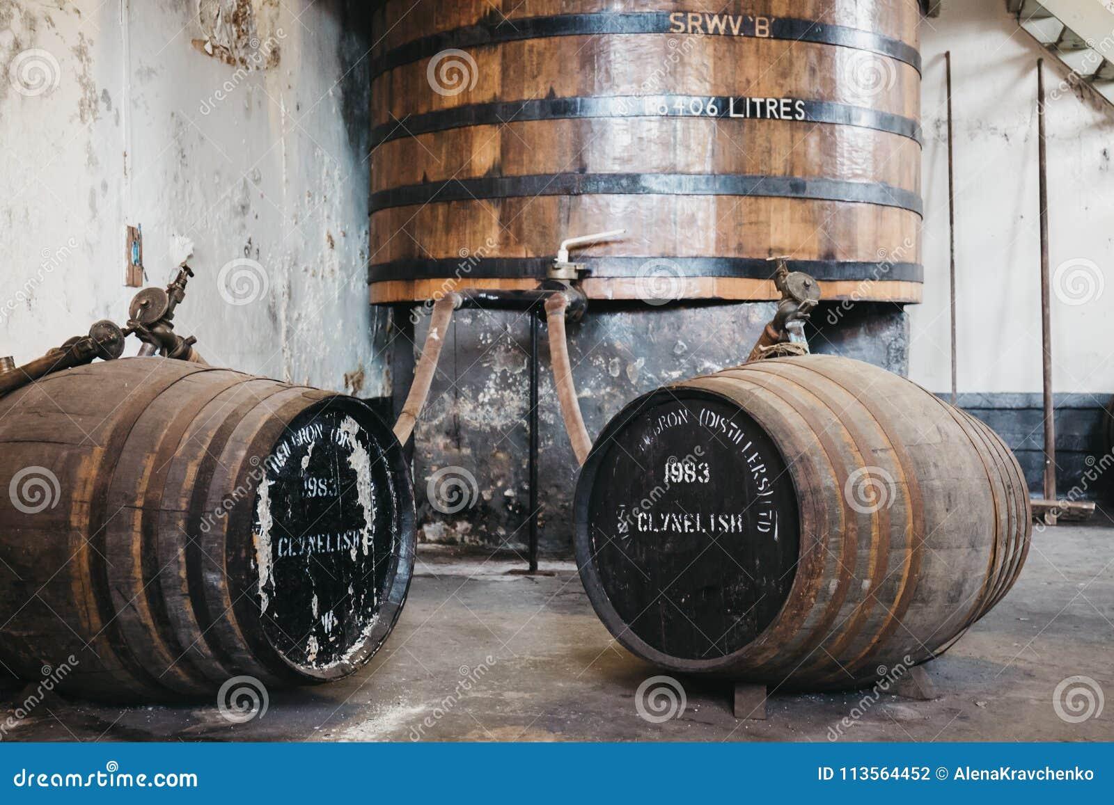 桶在Brora槽坊,苏格兰里面的Clynelish威士忌酒