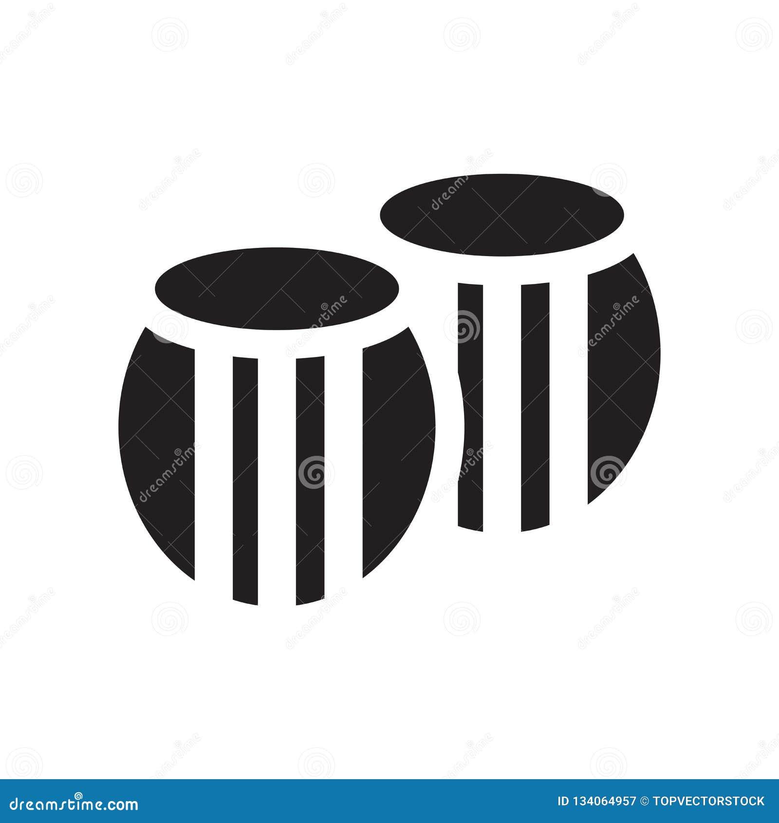 桶象在白色背景和标志隔绝的传染媒介标志,桶商标概念