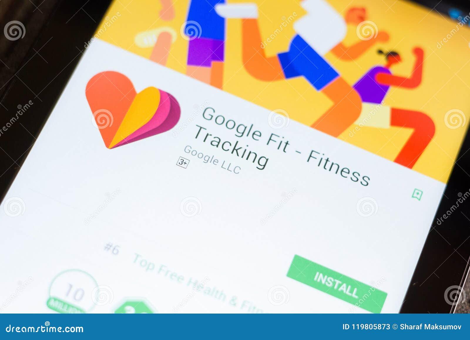 梁赞,俄罗斯- 2018年6月24日:谷歌适合了-健身在片剂个人计算机显示的跟踪的流动app