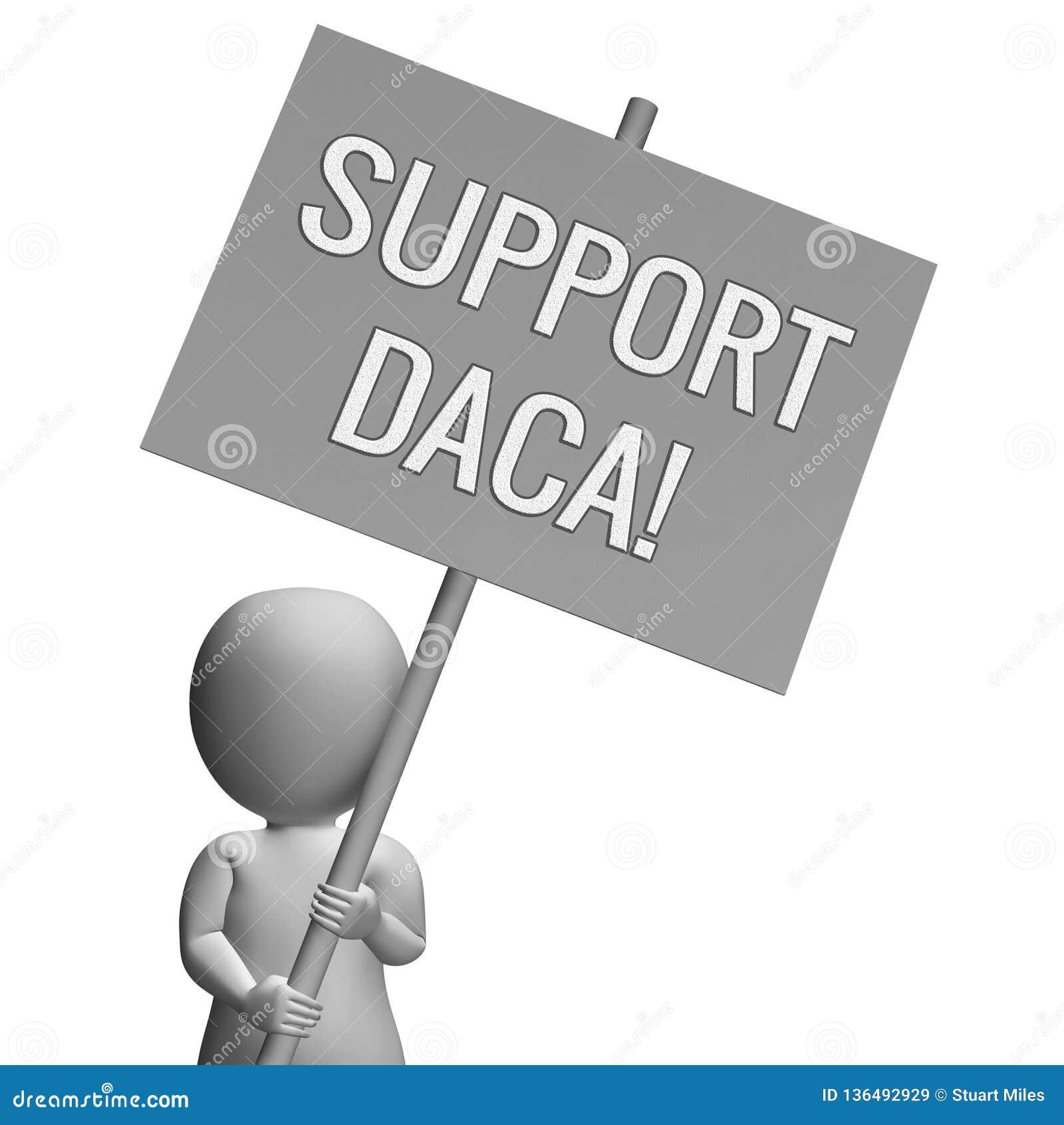 梦想家的Daca抗议成交路对公民身份- 3d例证