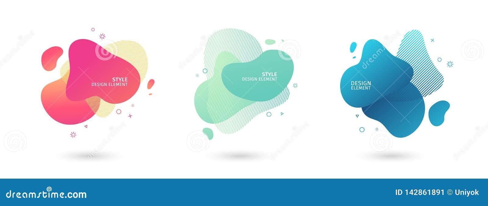 设置摘要现代图表元素 动态色的形式和线 梯度与流动的液体的摘要横幅