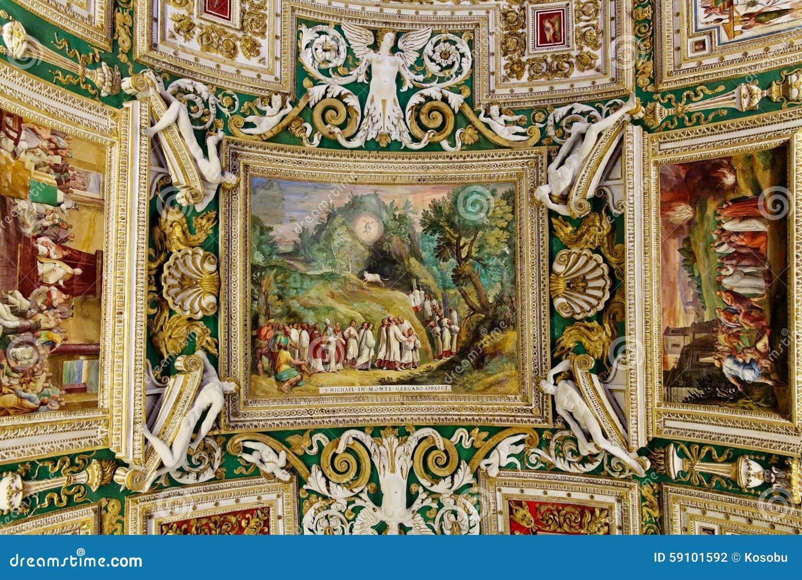 梵蒂冈博物馆的画廊内部梵蒂冈的, R