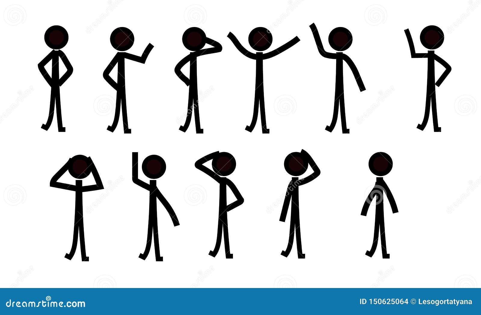 棍子形象人象形文字,不同的姿势