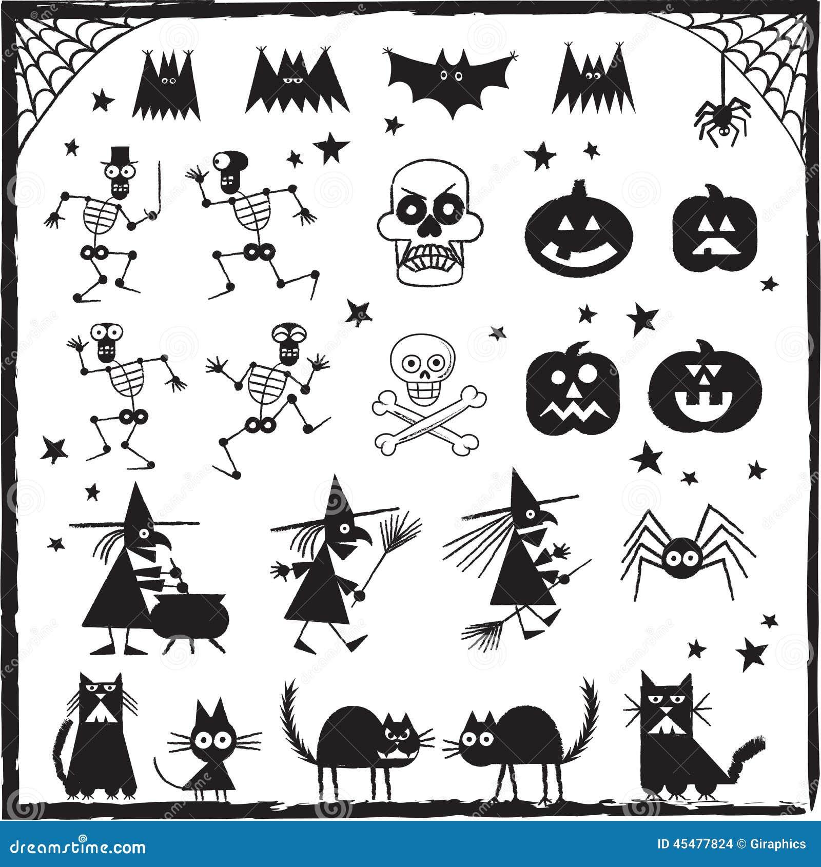 棒黑色设计要素眼睛严重万圣节包括插孔灯笼o南瓜塔兰图拉毒蛛巫婆