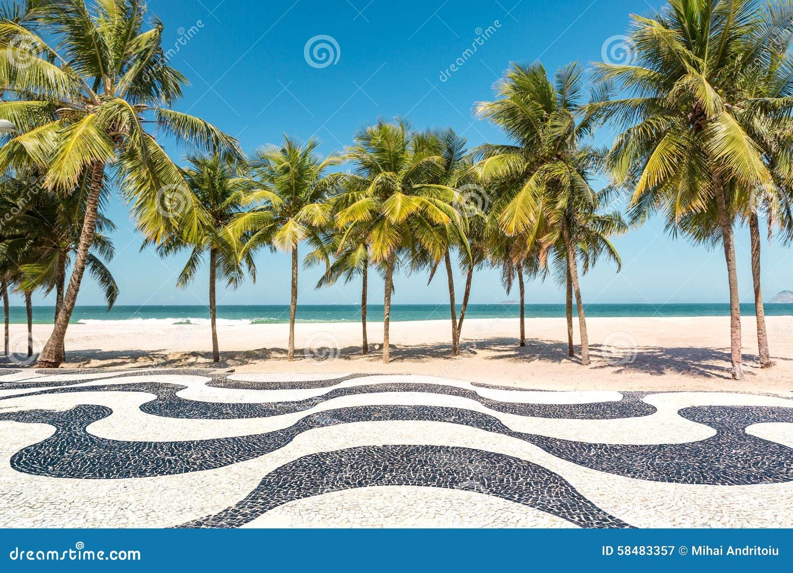 棕榈树和偶象科帕卡巴纳使马赛克边路靠岸