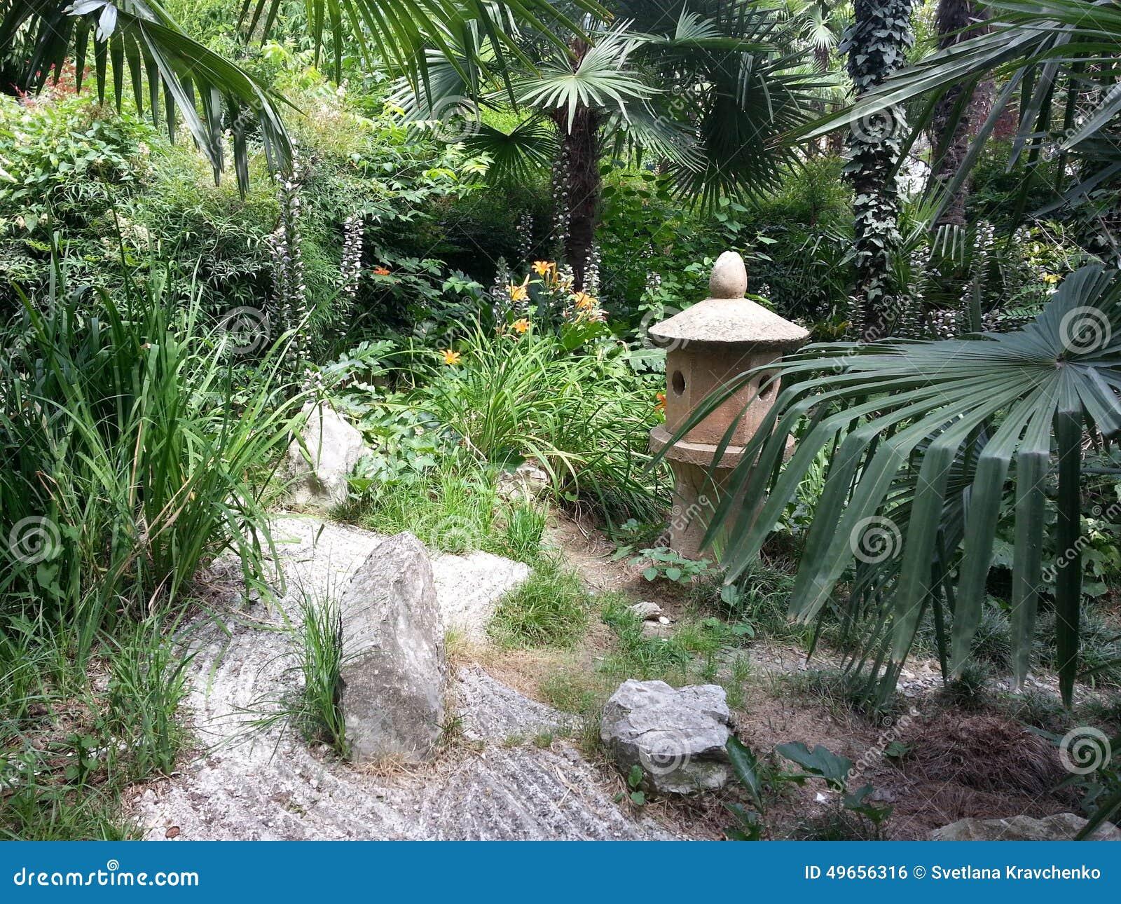 棕榈树和花在日本庭院里