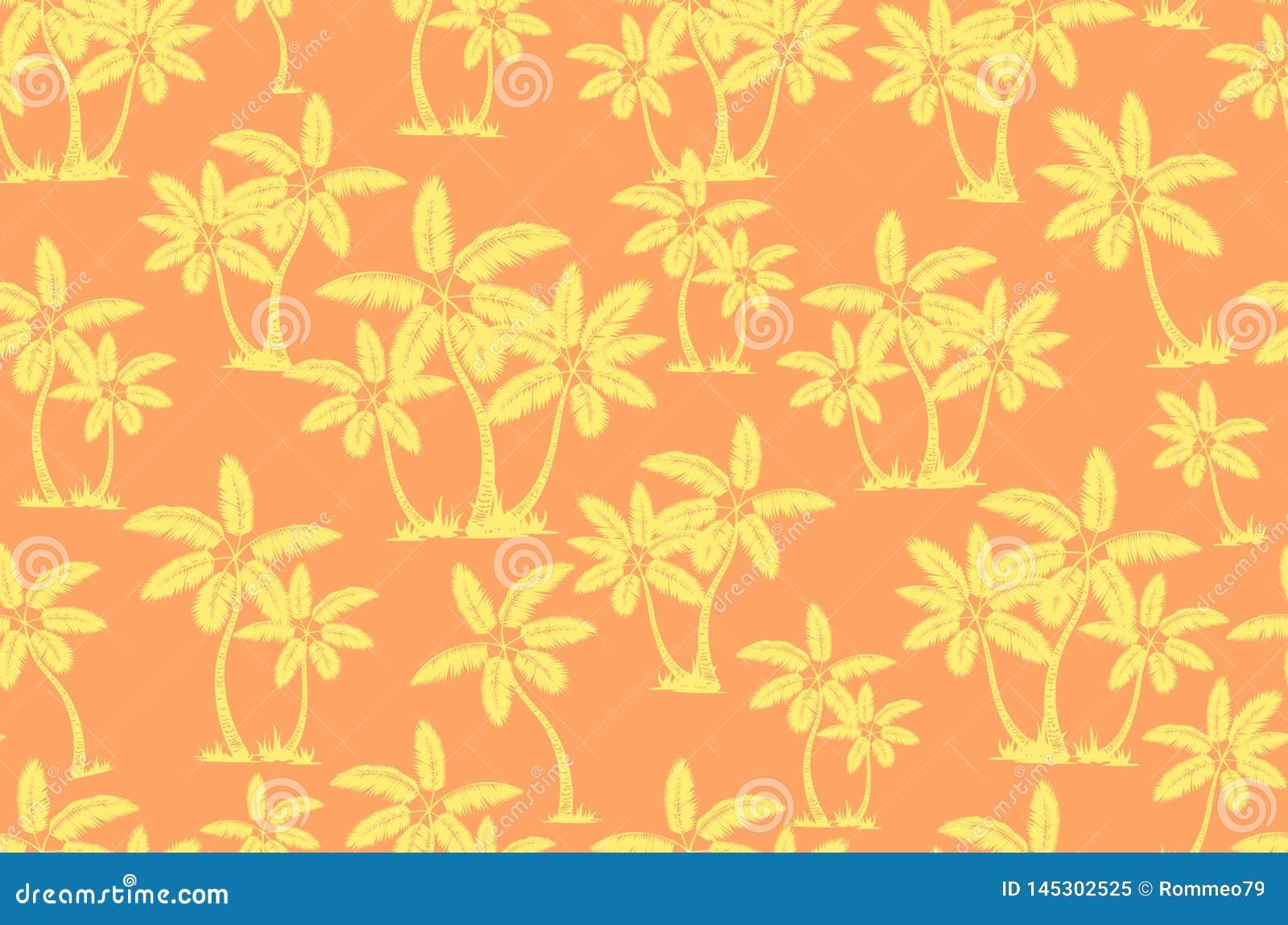 E 棕榈树夏天不尽的手拉的传染媒介背景可以为墙纸使用,包裹