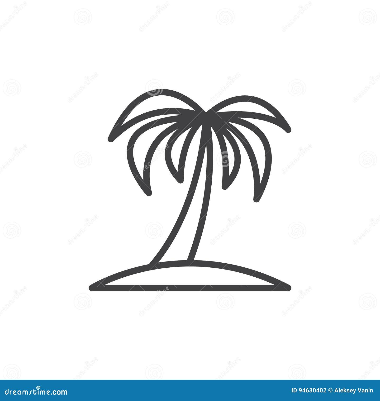 棕榈树线象,概述传染媒介标志,在白色隔绝的线性样式图表图片