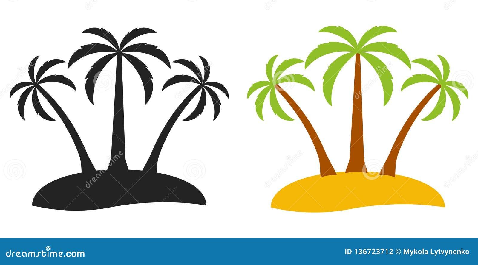 棕榈树荒岛,旅游业的传染媒介商标在海岛,平的可笑的动画片样式上的三棵棕榈树