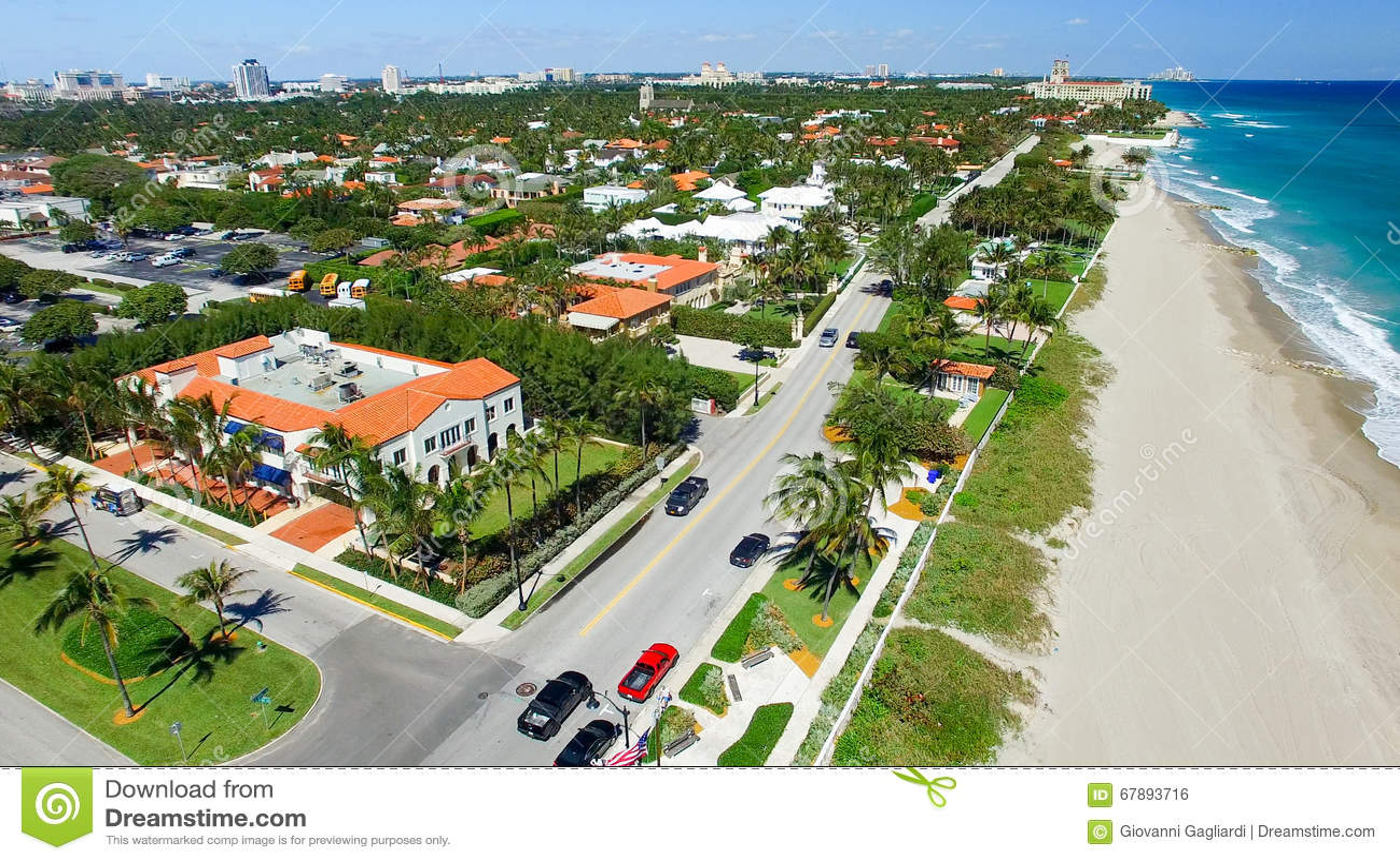 棕榈滩海岸线,佛罗里达鸟瞰图
