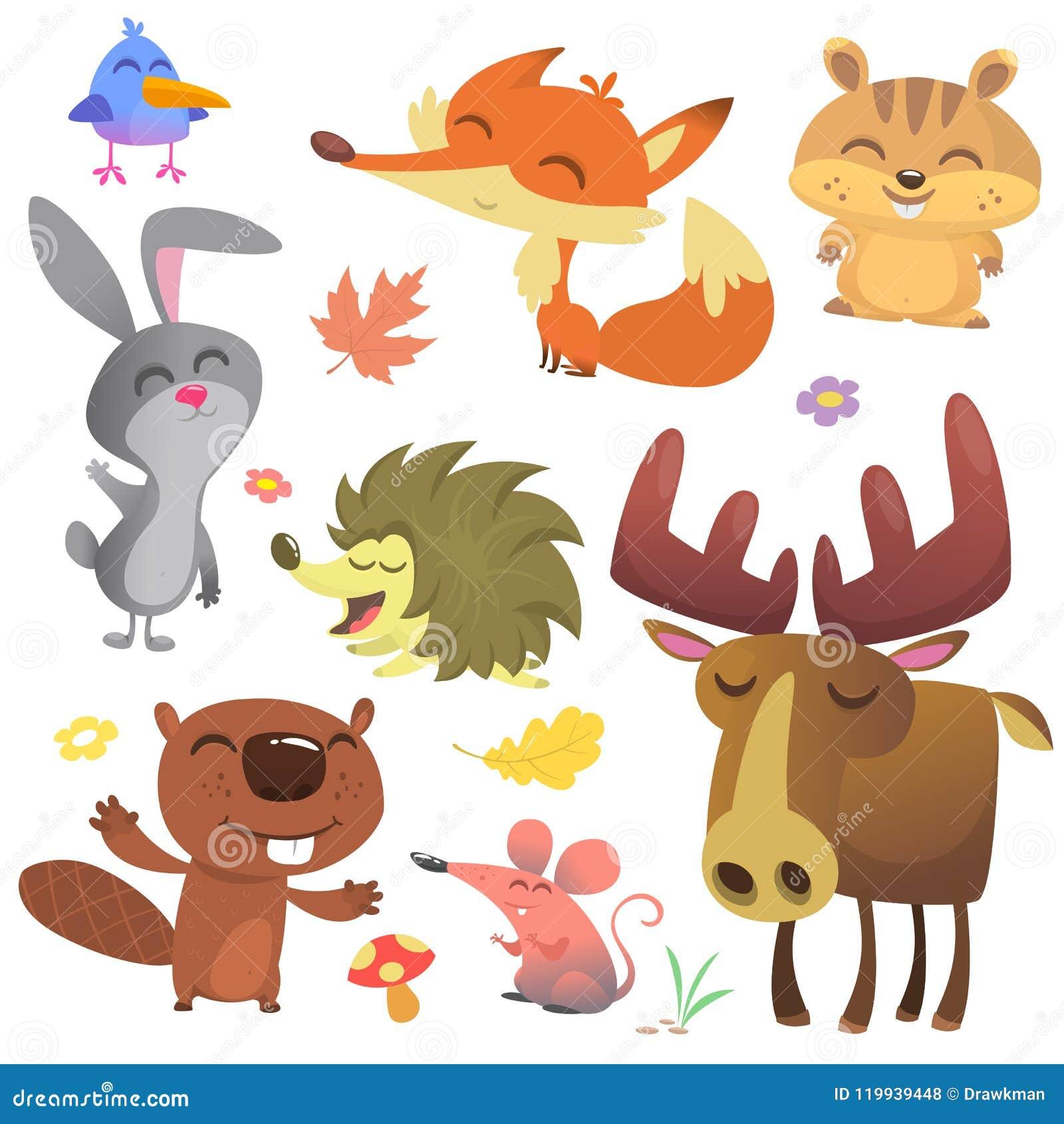 森林动物传染媒介例证 动画片鸟、猬、海狸、小兔、花栗鼠、狐狸、老鼠和麋