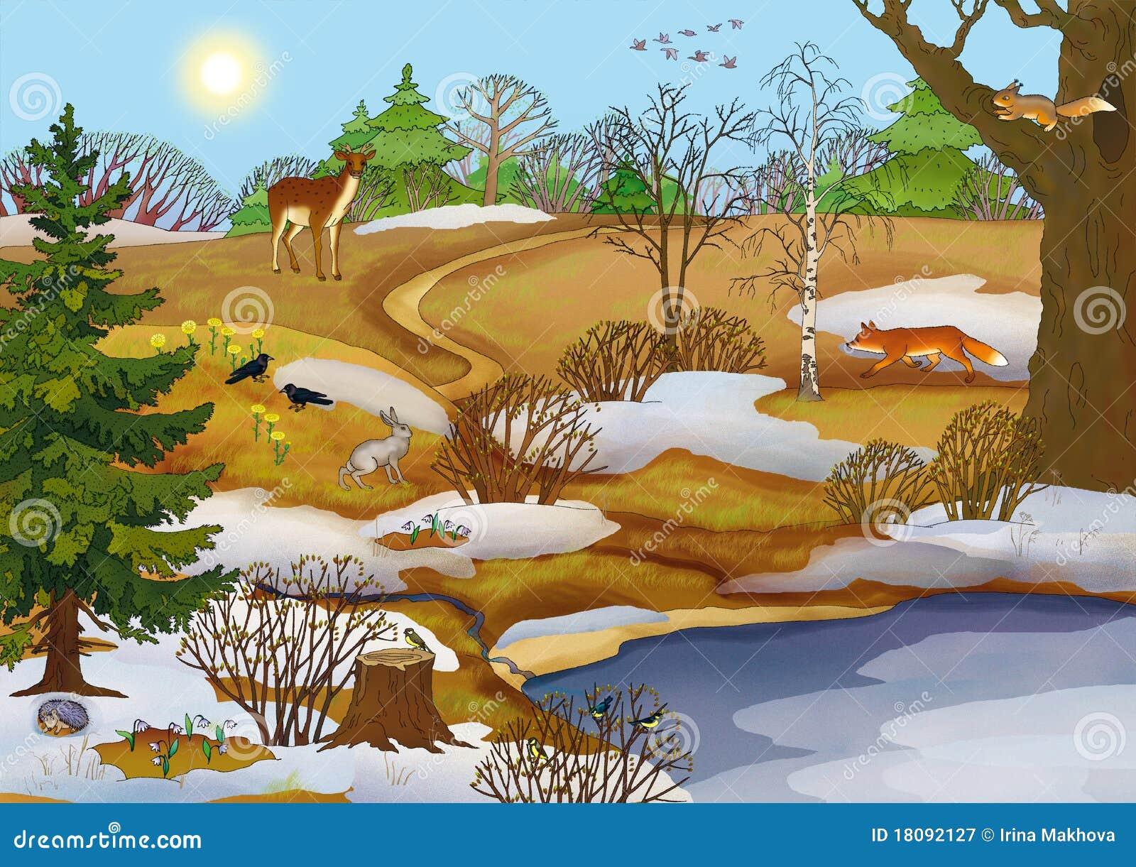 动物森林湖横向春天.图片