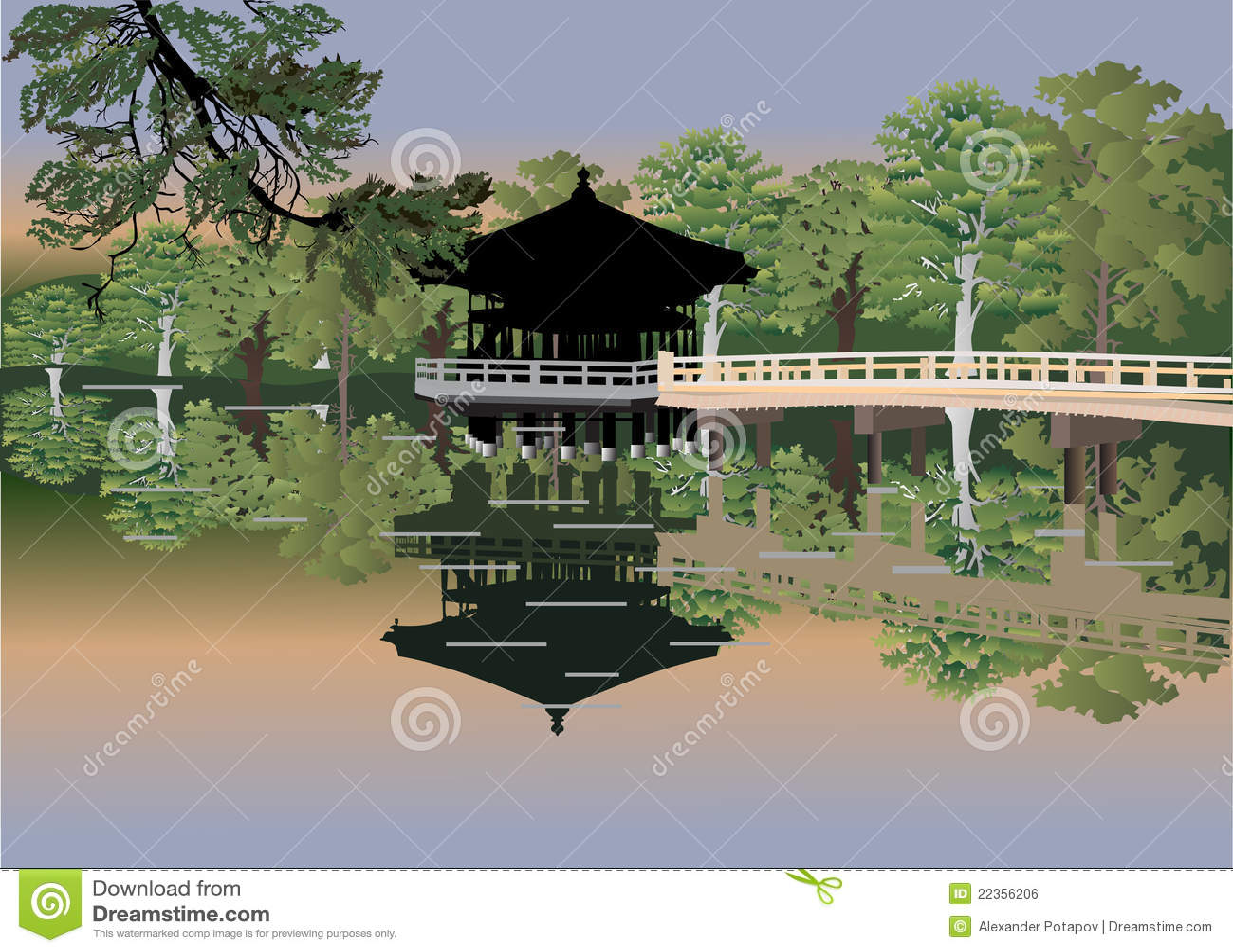 森林湖亭子