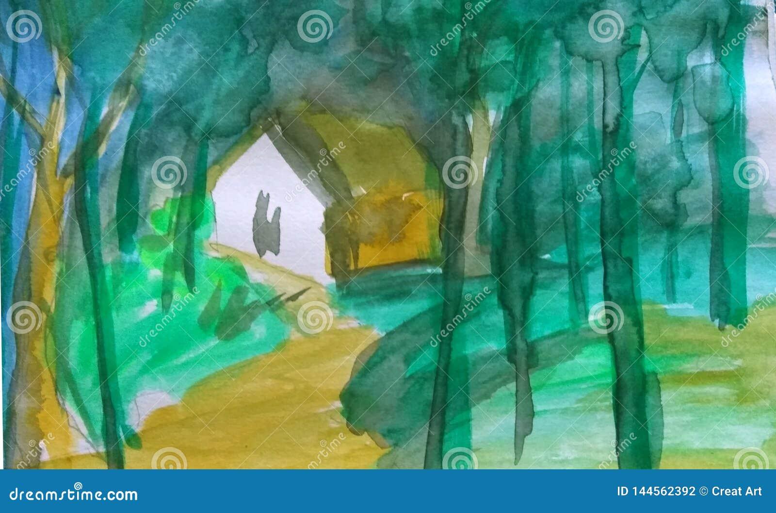 森林绘的水彩抽象背景