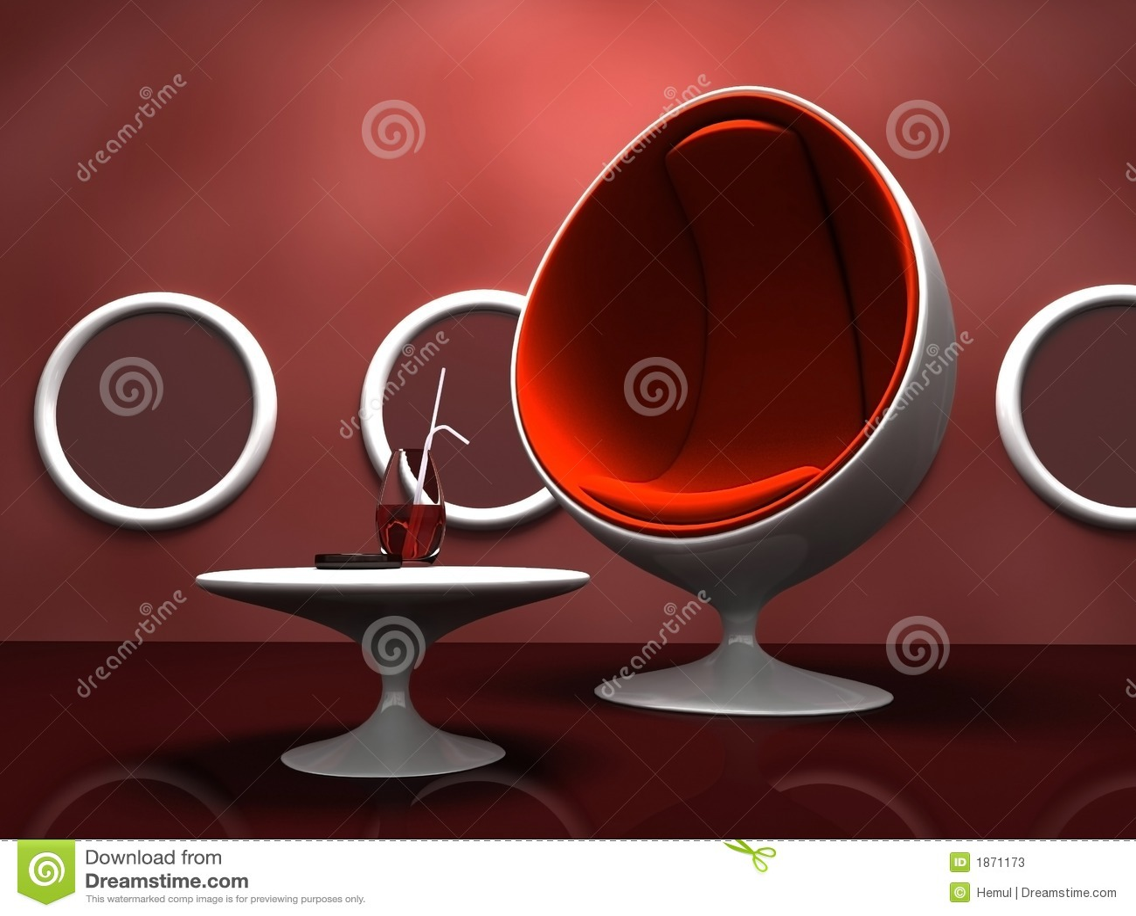 椅子内部现代红色表