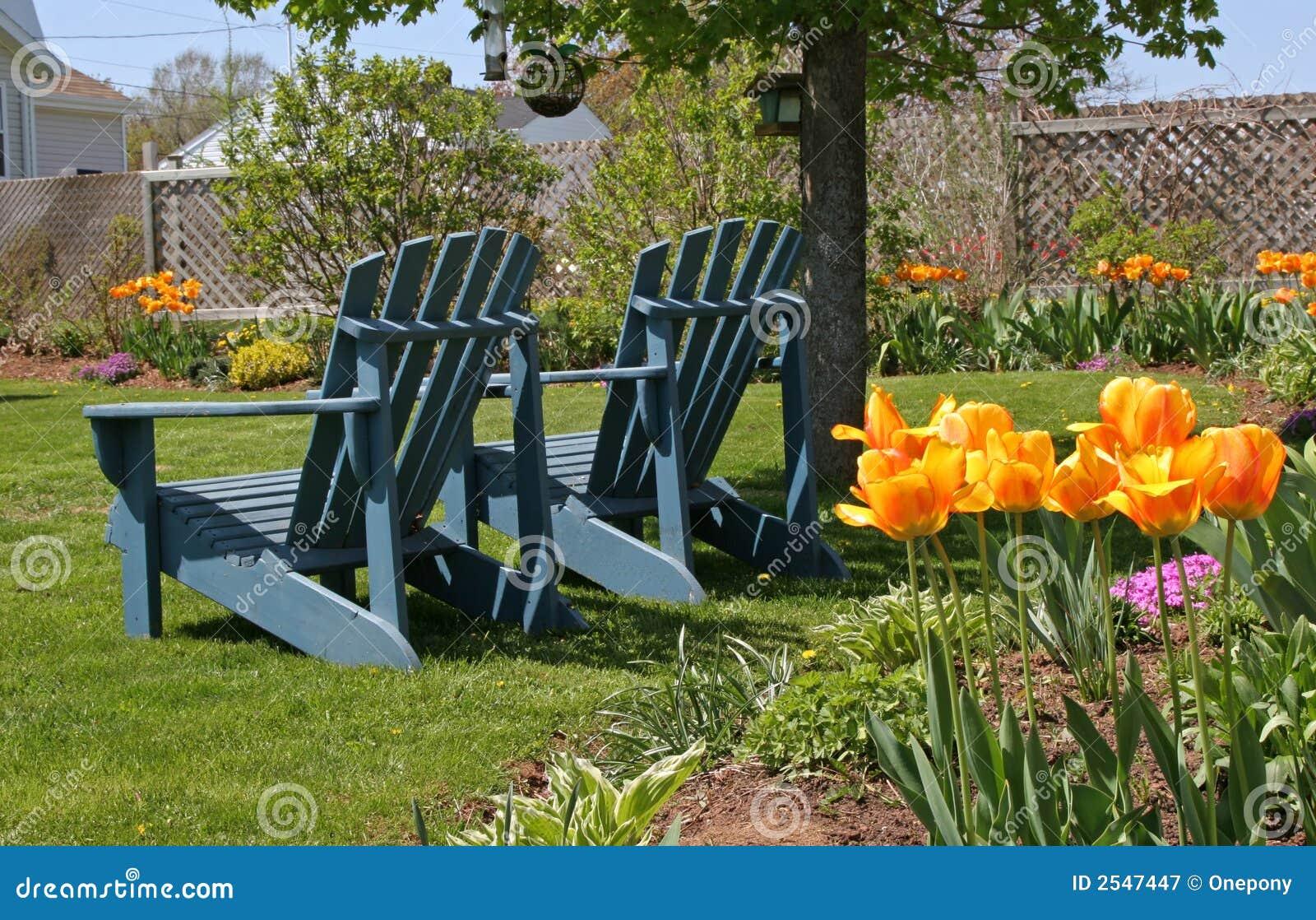 椅子庭院春天