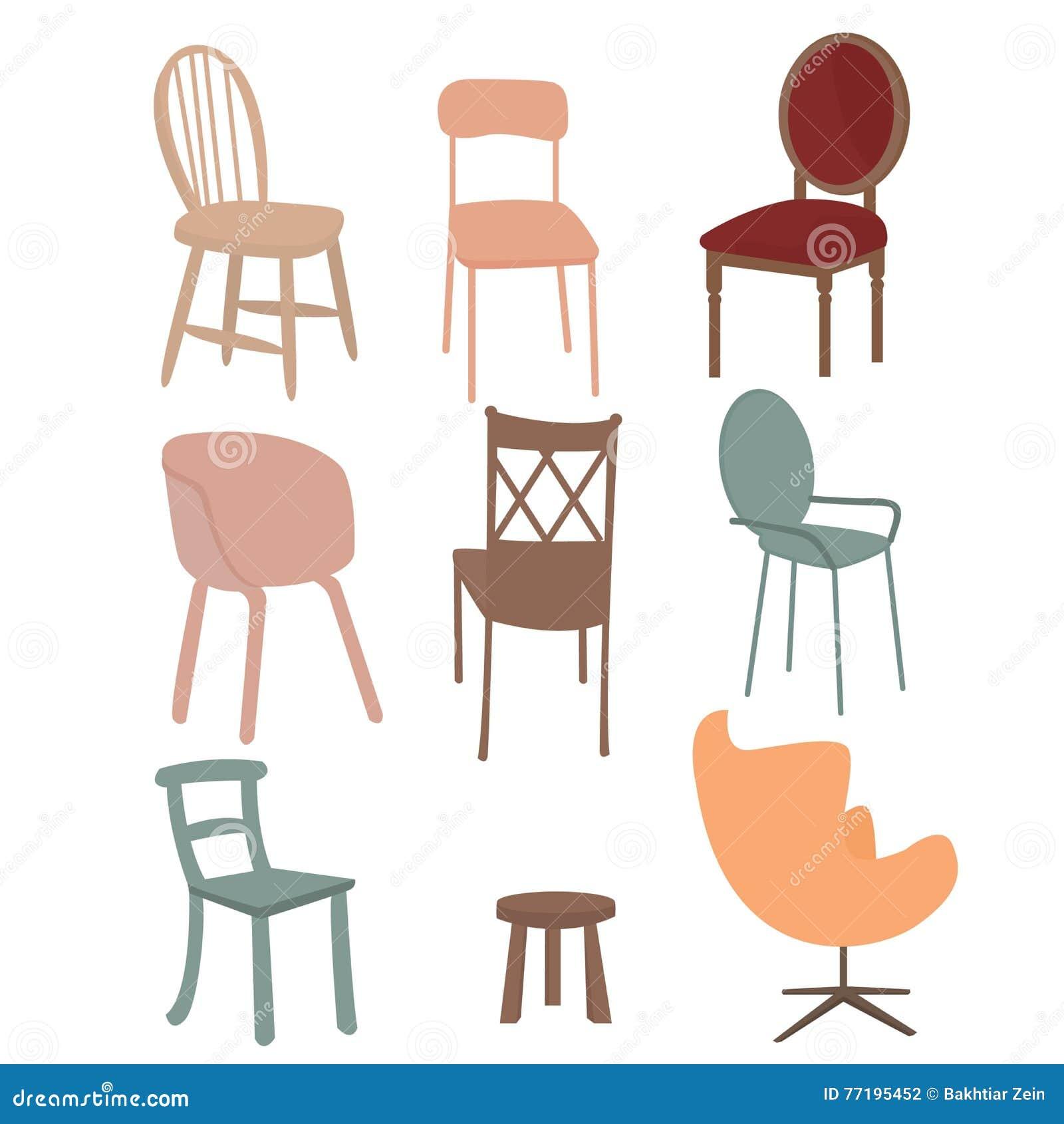 椅子扶手椅子家具象集合平的内部图表例证