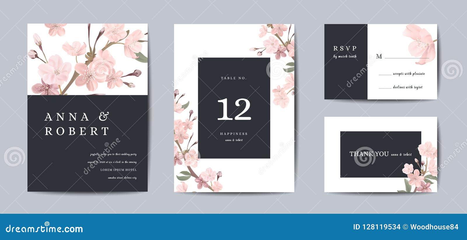 植物的减速火箭的婚礼邀请卡片、葡萄酒救球日期,佐仓花模板设计和叶子,樱桃